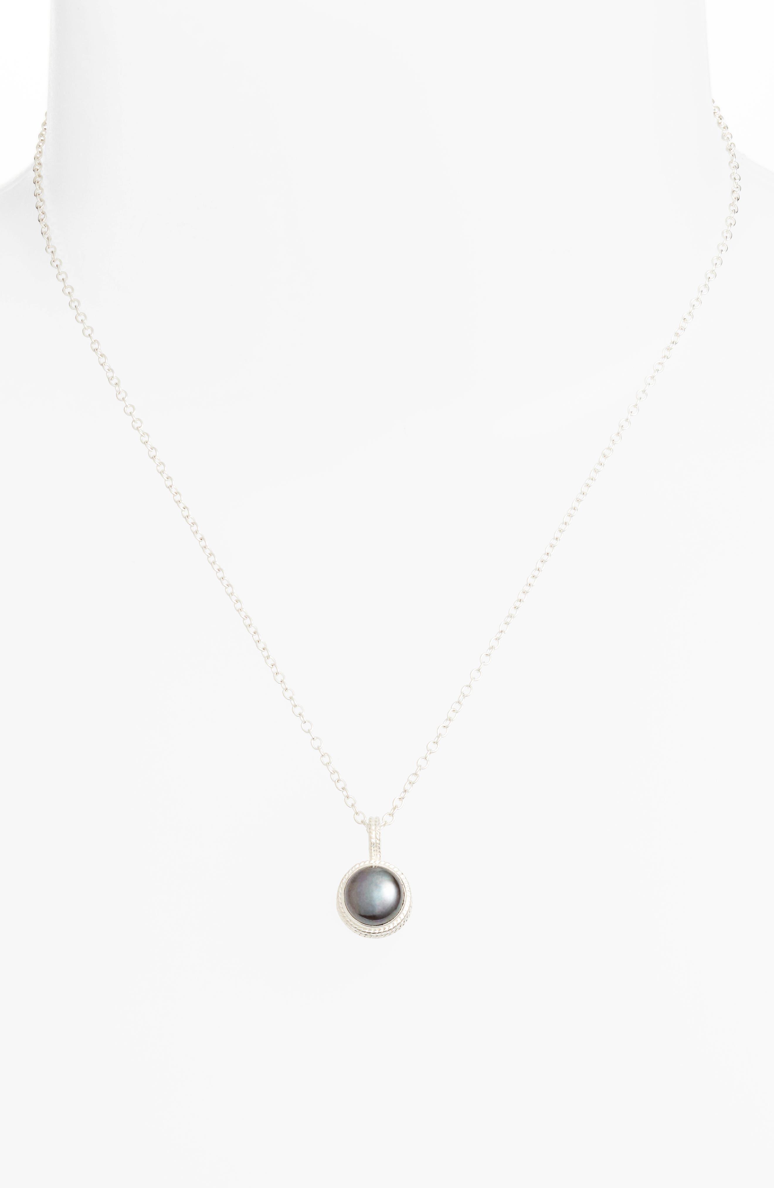 Genuine Blue Pearl Pendant Necklace,                             Alternate thumbnail 2, color,                             Silver/ Blue Pearl