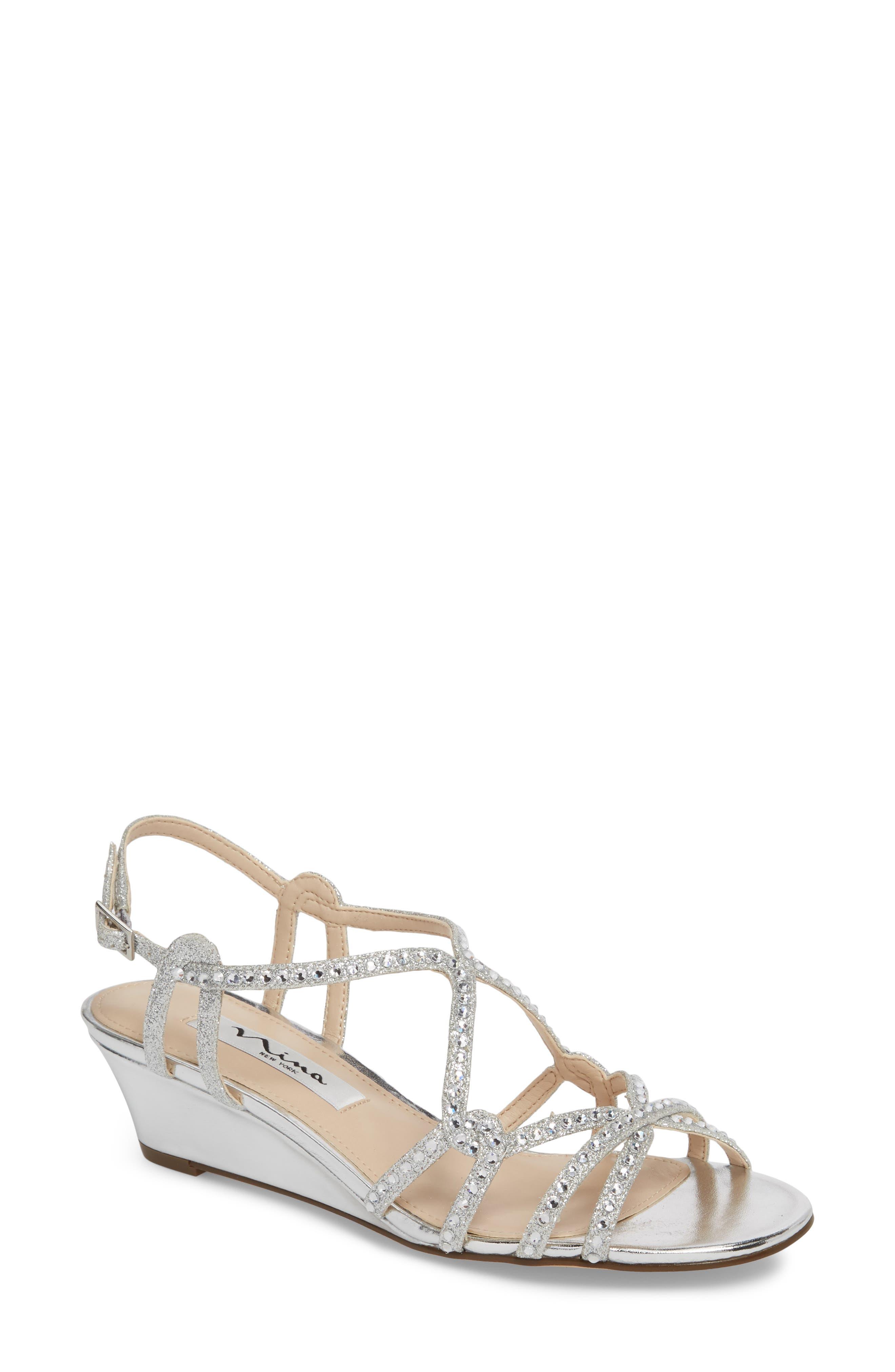 Finola Sandal,                         Main,                         color, Silver Glitter Fabric