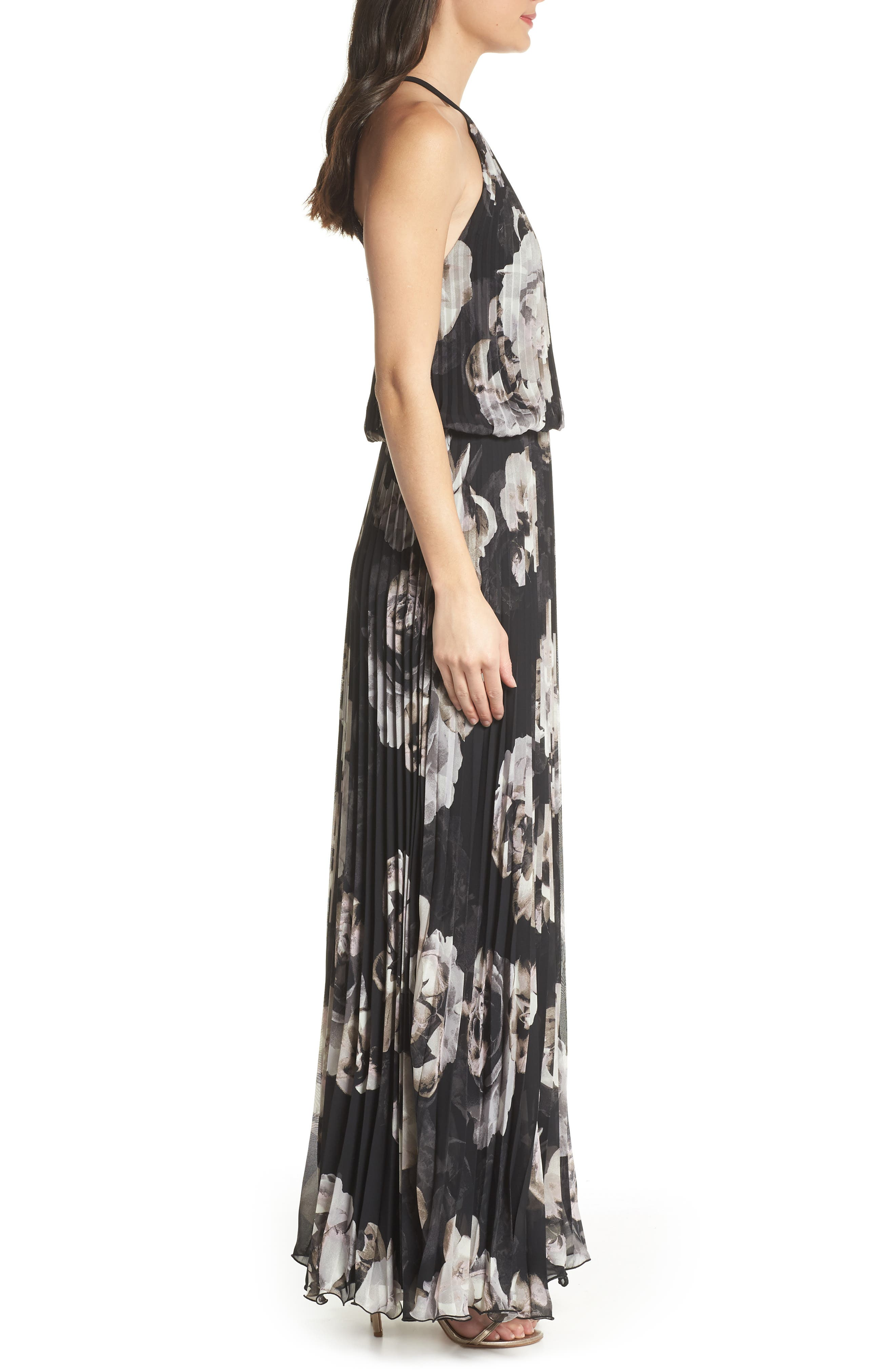 Pleated Halter Neck Chiffon Gown,                             Alternate thumbnail 3, color,                             Black/ White
