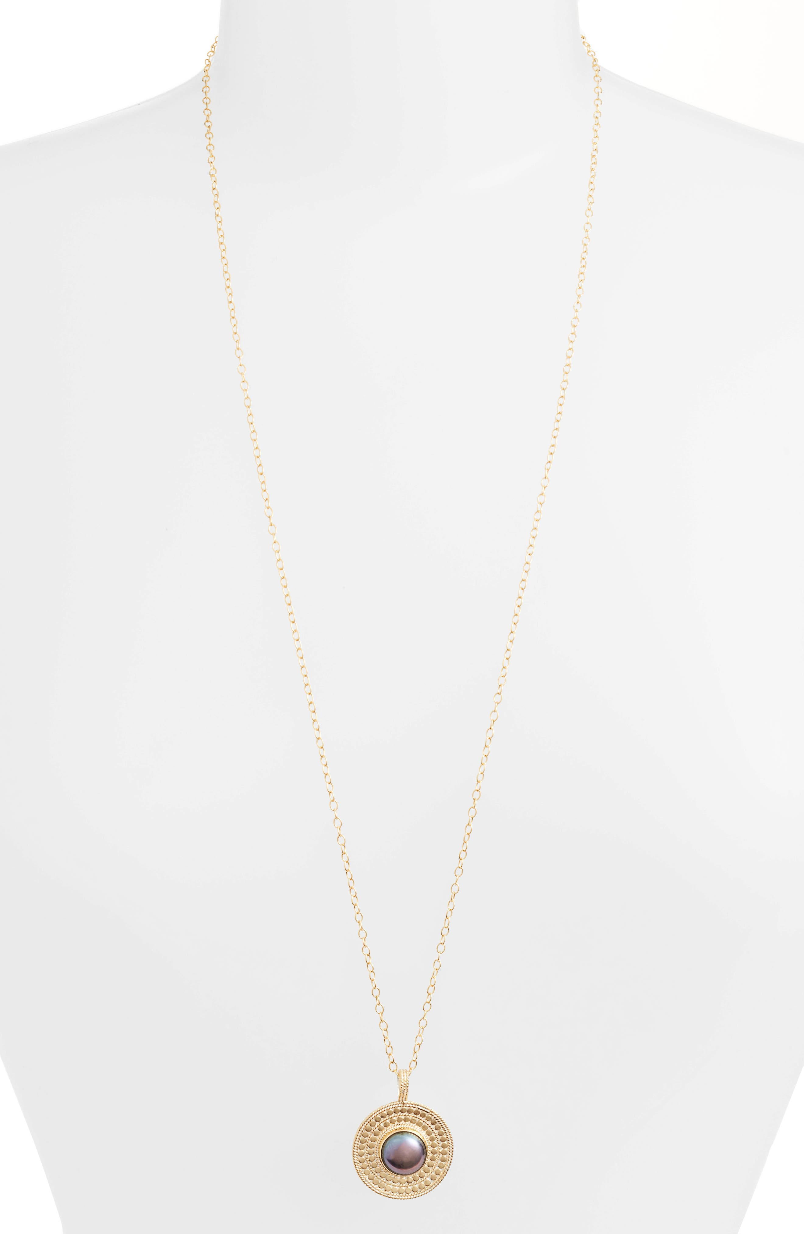 Genuine Blue Pearl Medallion Necklace,                         Main,                         color, Gold/ Blue Pearl
