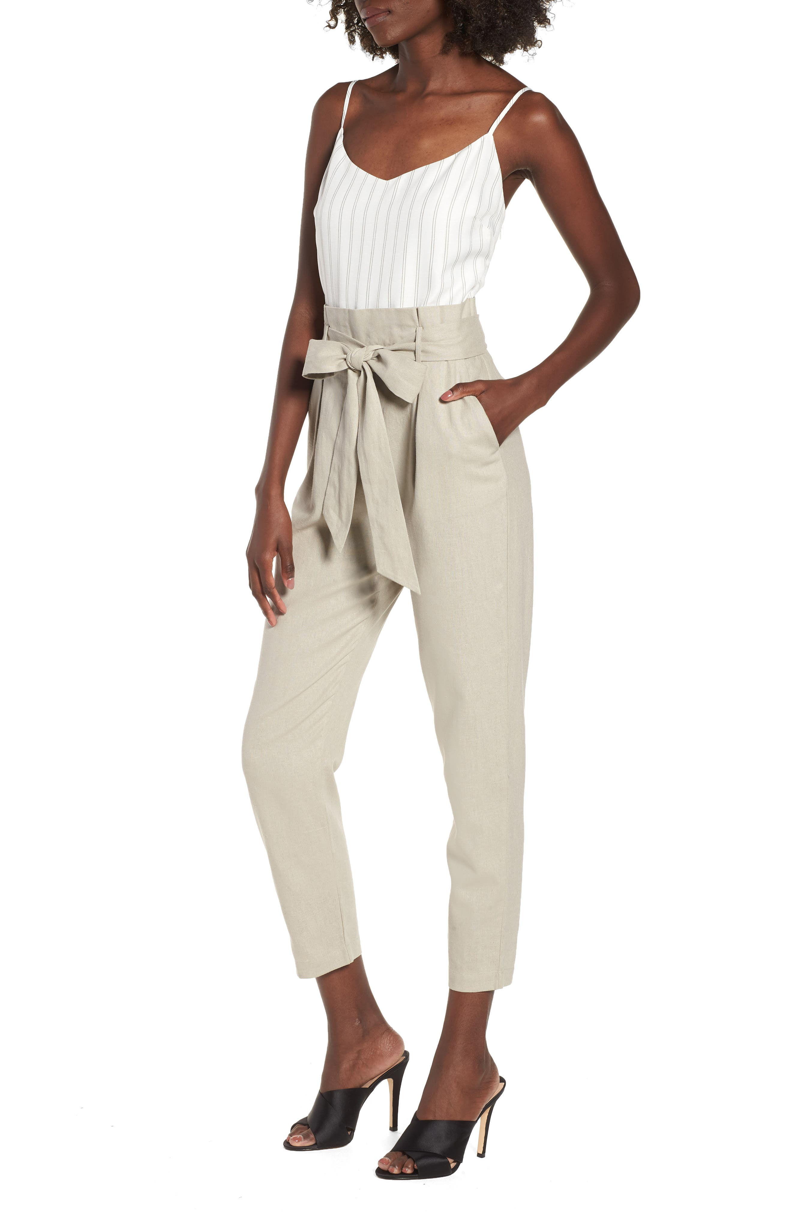 Tie Waist Crop Jumpsuit,                         Main,                         color, Beige Morn Stripe
