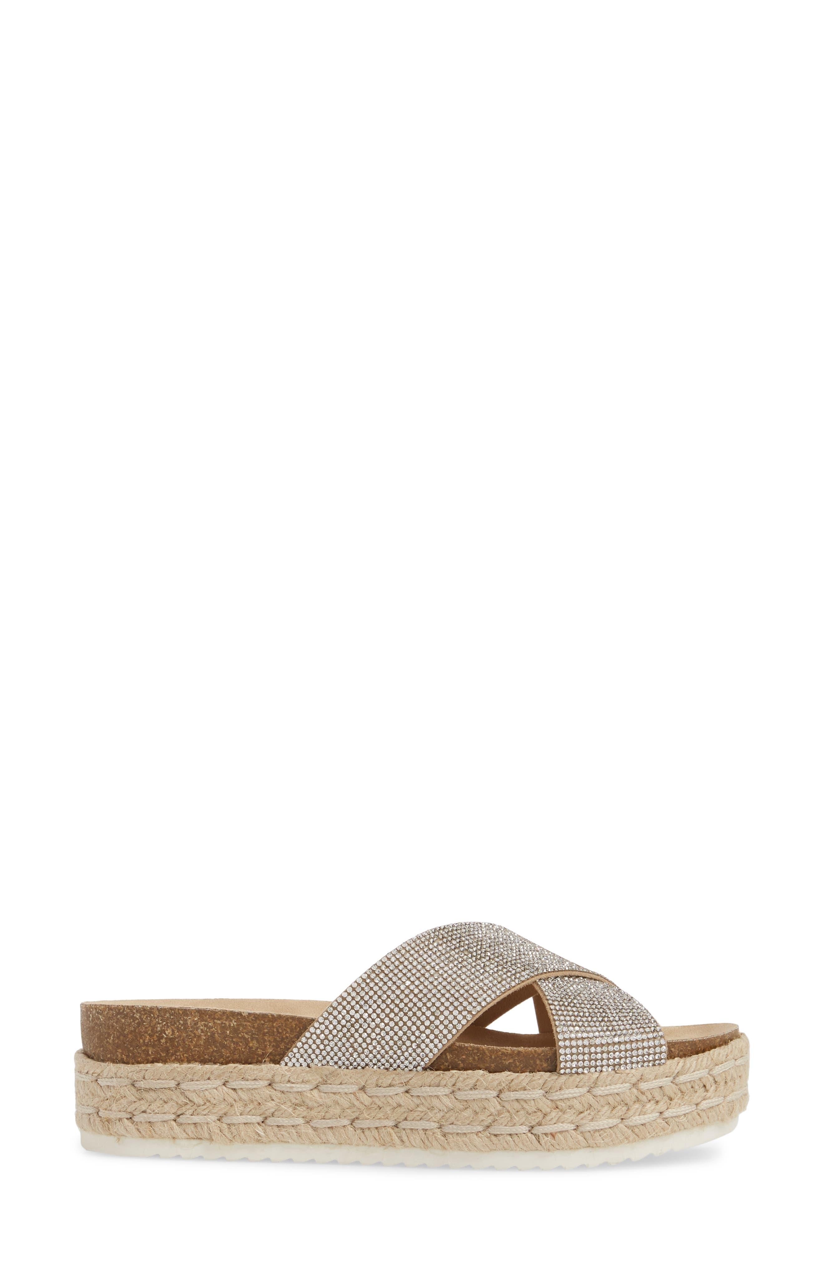 Arran-R Platform Espadrille Sandal,                             Alternate thumbnail 3, color,                             Silver