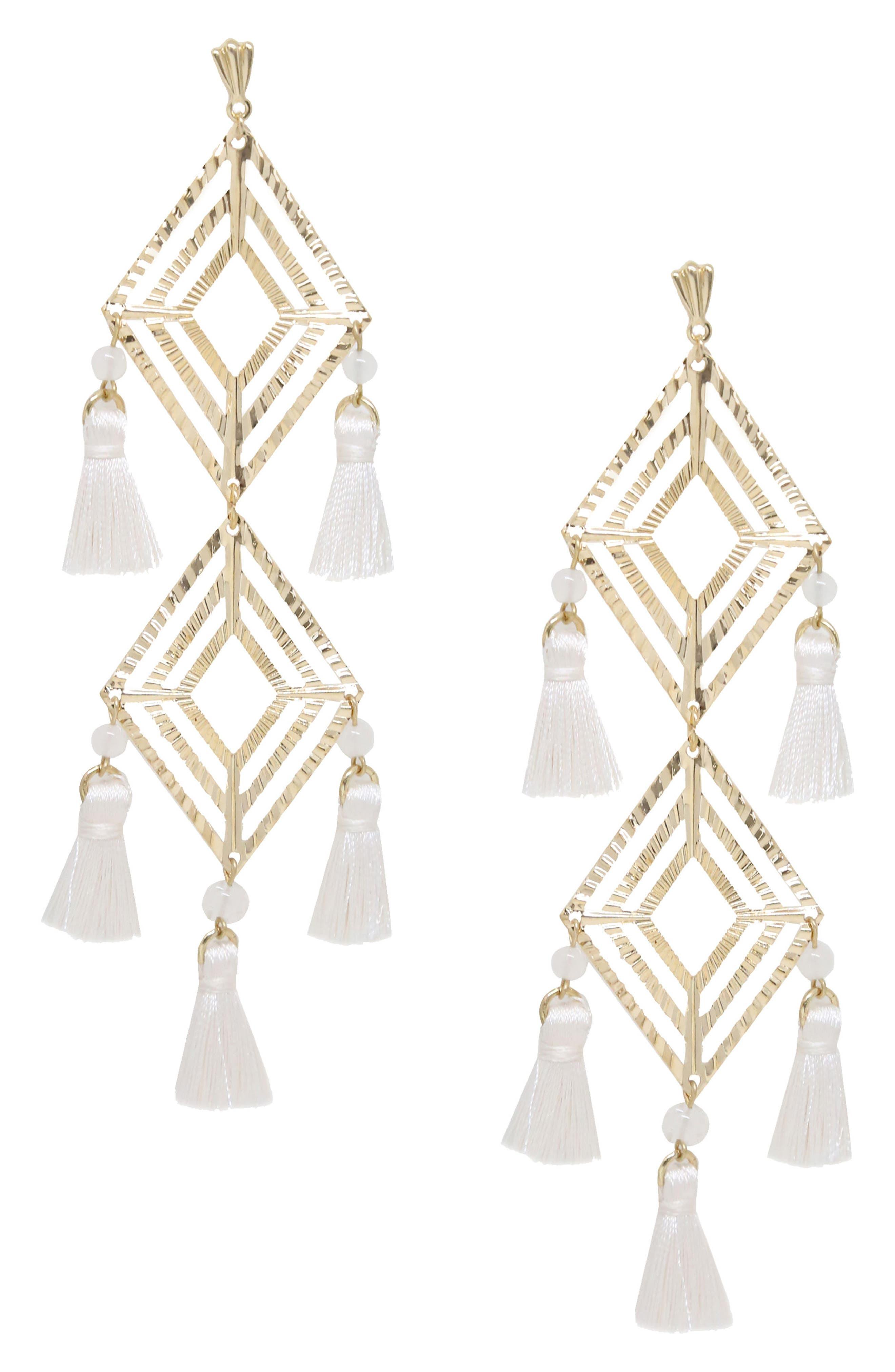 Jade Tassel Earrings,                         Main,                         color, White