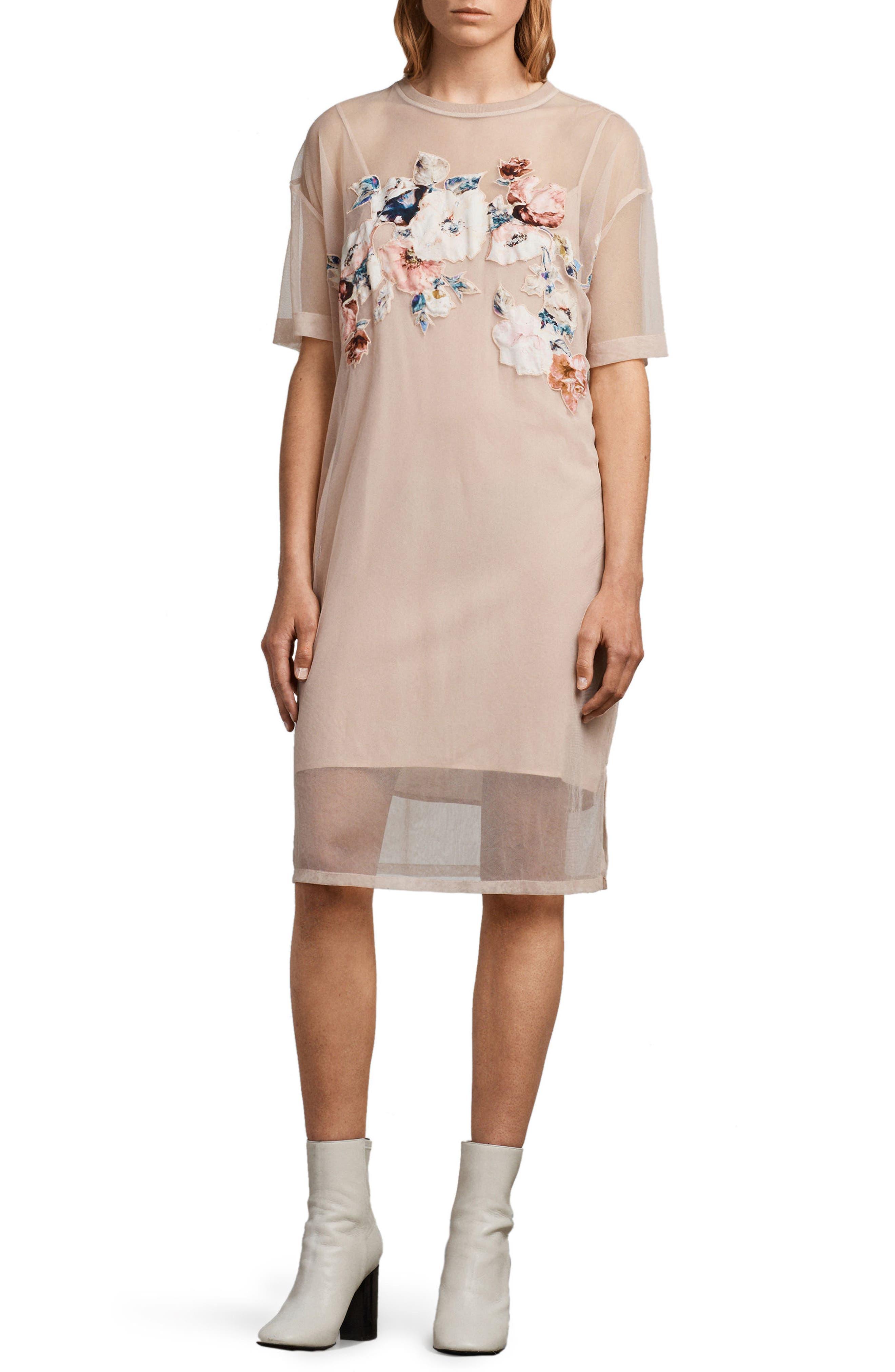 Kyla Floral Print Dress,                             Main thumbnail 1, color,                             Pale Pink