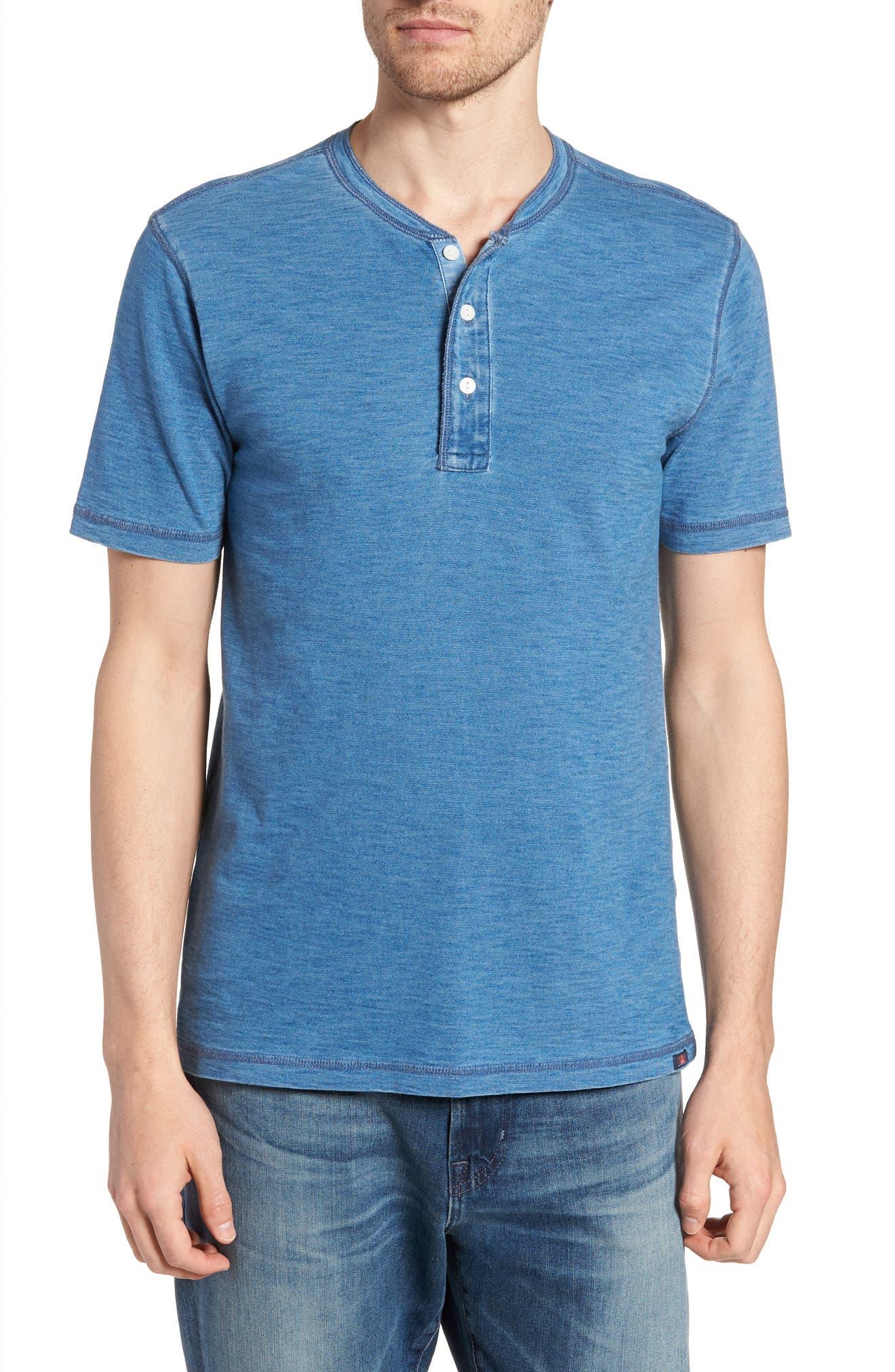 Short Sleeve Henley,                         Main,                         color, Medium Wash