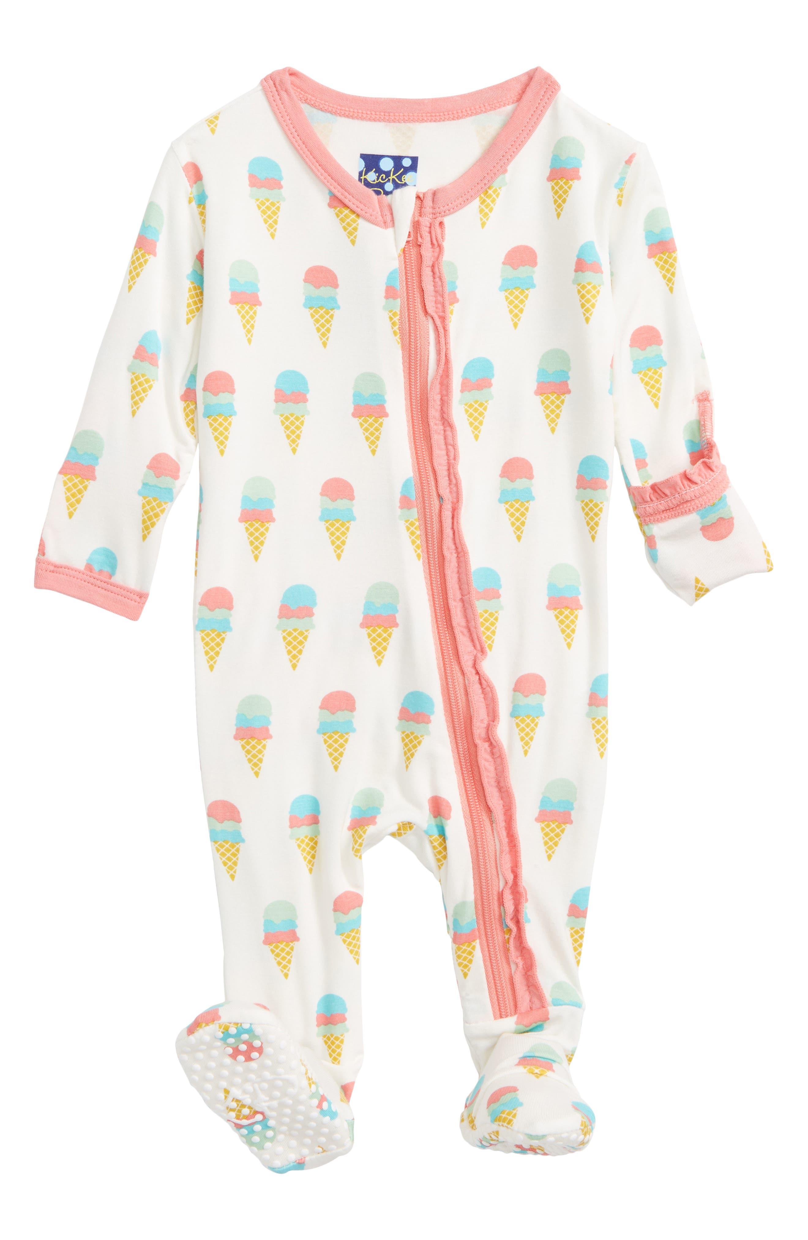 Ruffle Footie,                         Main,                         color, Natural Ice Cream
