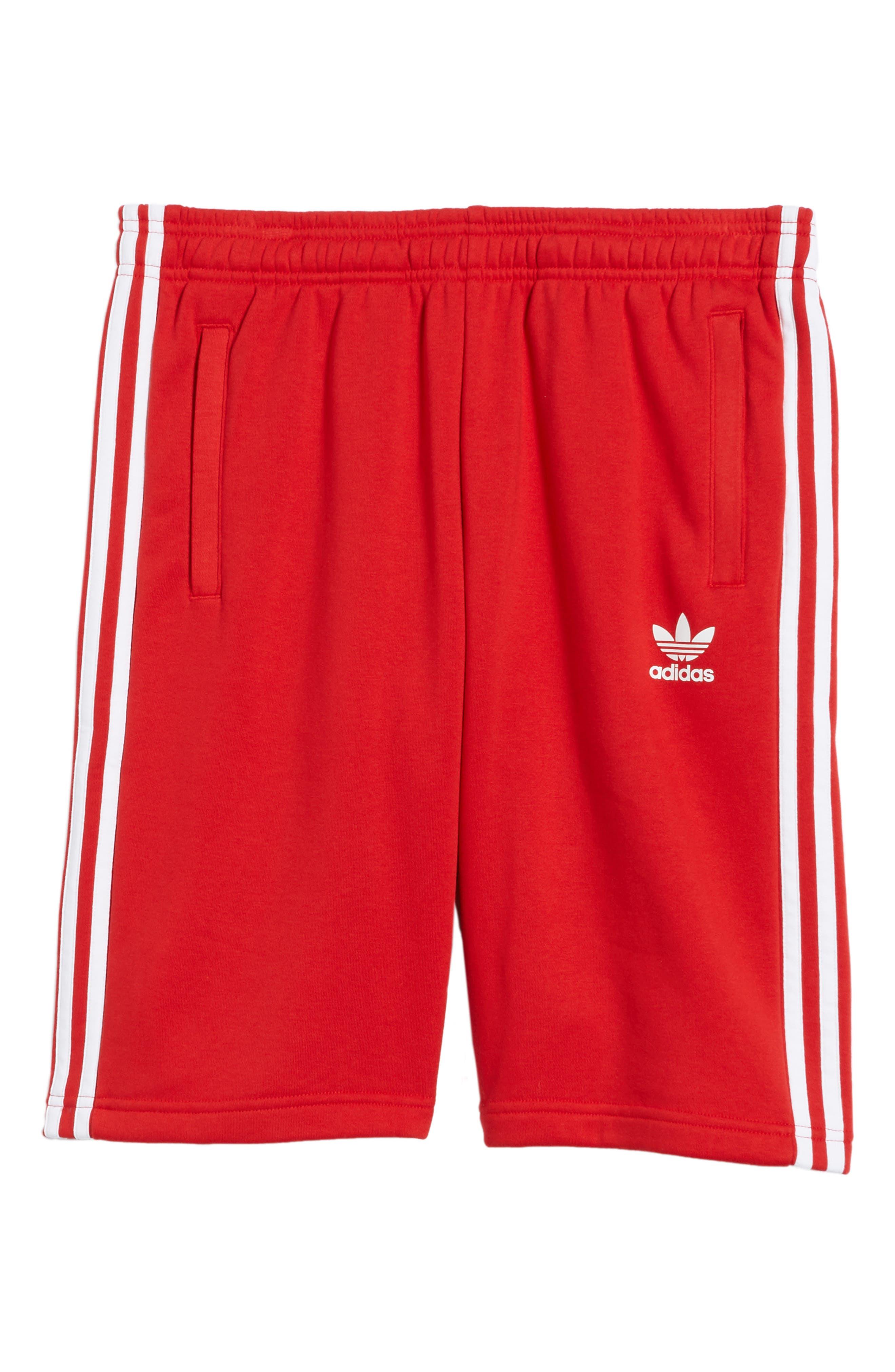 3-Stripes Shorts,                             Alternate thumbnail 6, color,                             Red/ White
