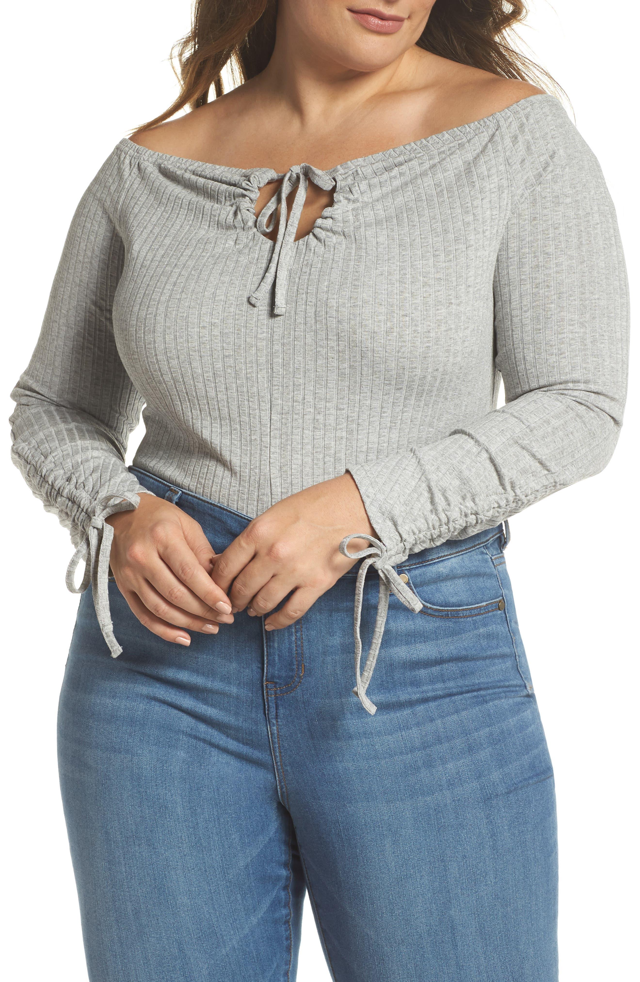 Bardot Ribbed Bodysuit,                             Main thumbnail 1, color,                             Grey