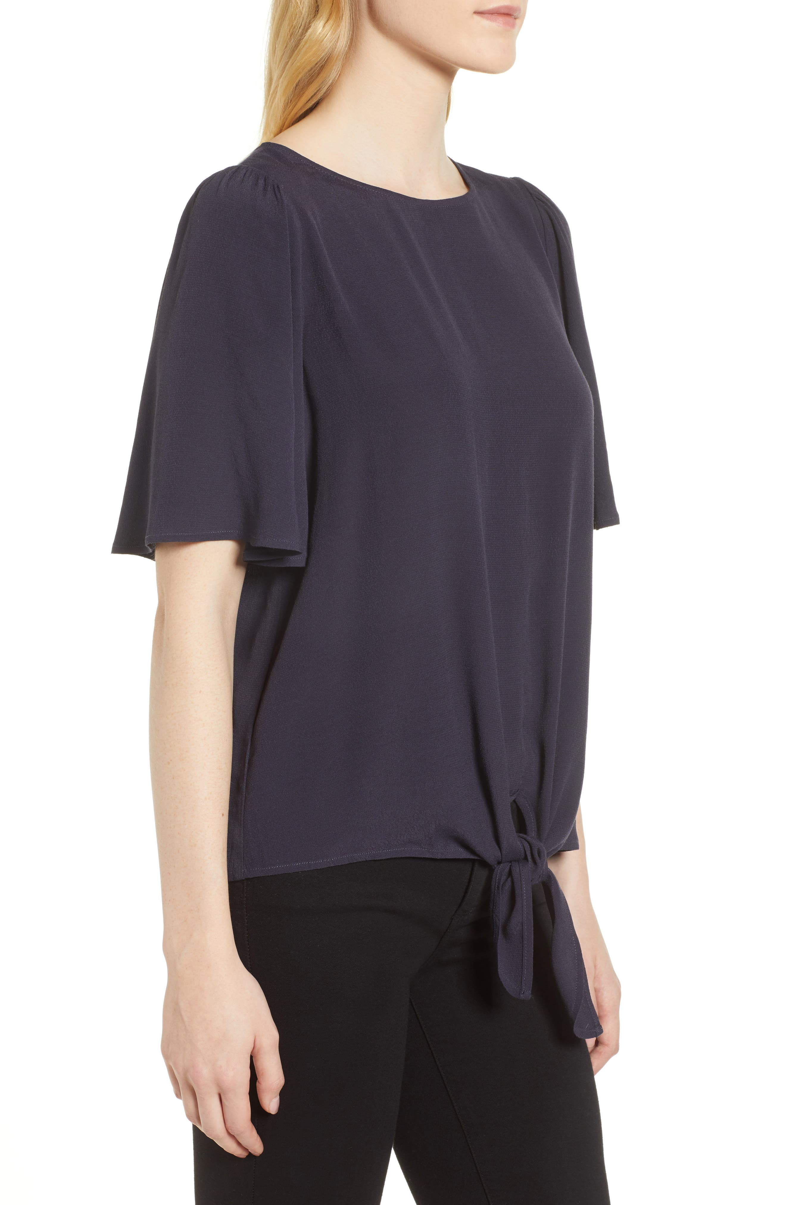 Ruffle Tie Front Top,                             Alternate thumbnail 3, color,                             Navy Well