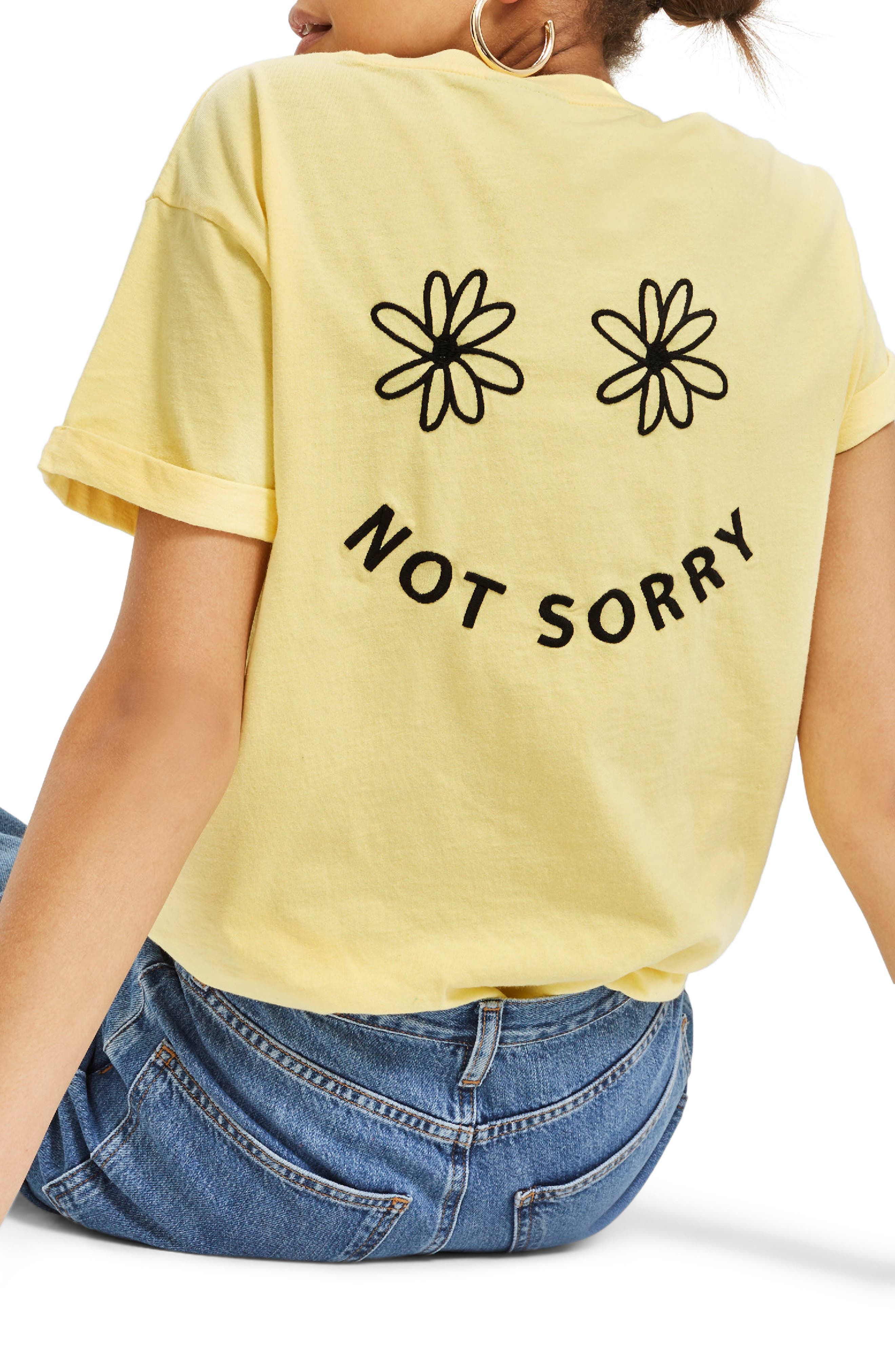 Sorry Not Sorry Slogan T-Shirt,                         Main,                         color, Yellow