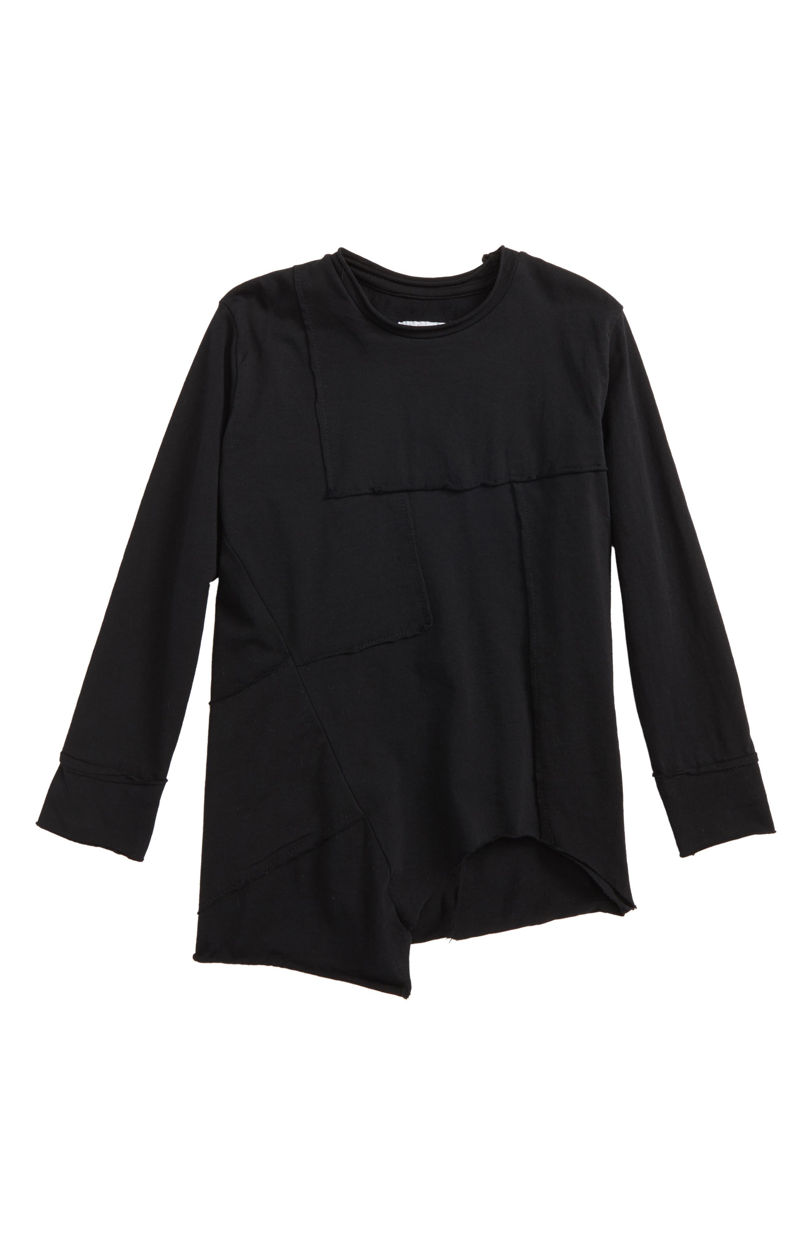 Patchwork Shirt,                         Main,                         color, Black