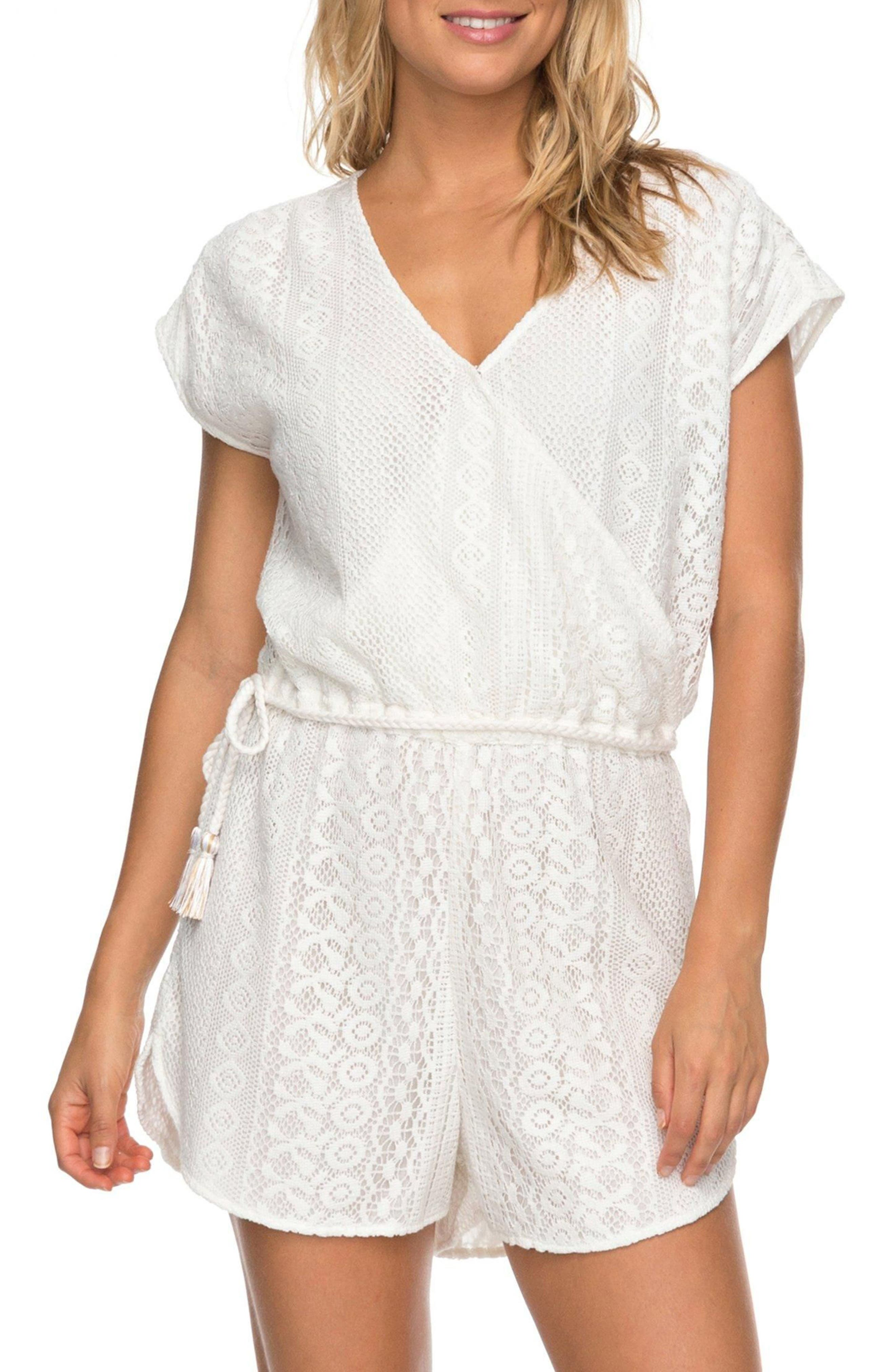 Totem Roads Lace Romper,                         Main,                         color, Marshmallow
