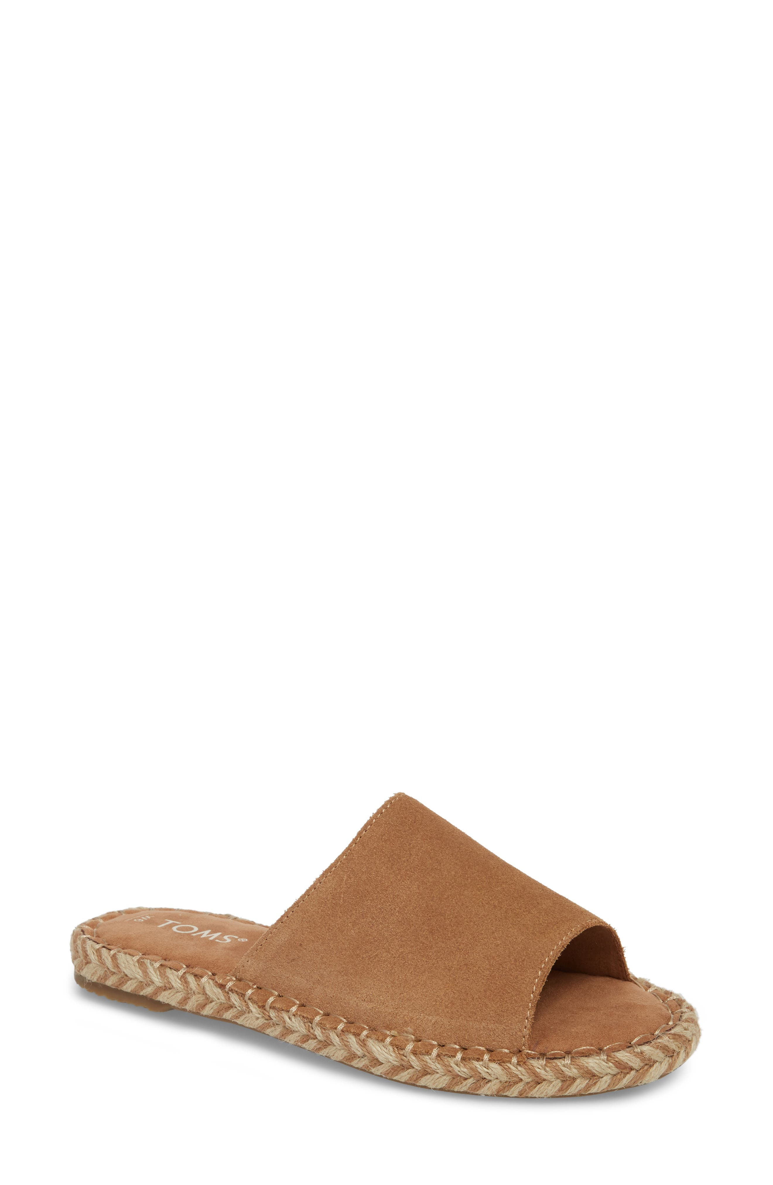 Clarita Espadrille Slide Sandal,                         Main,                         color, Toffee Suede