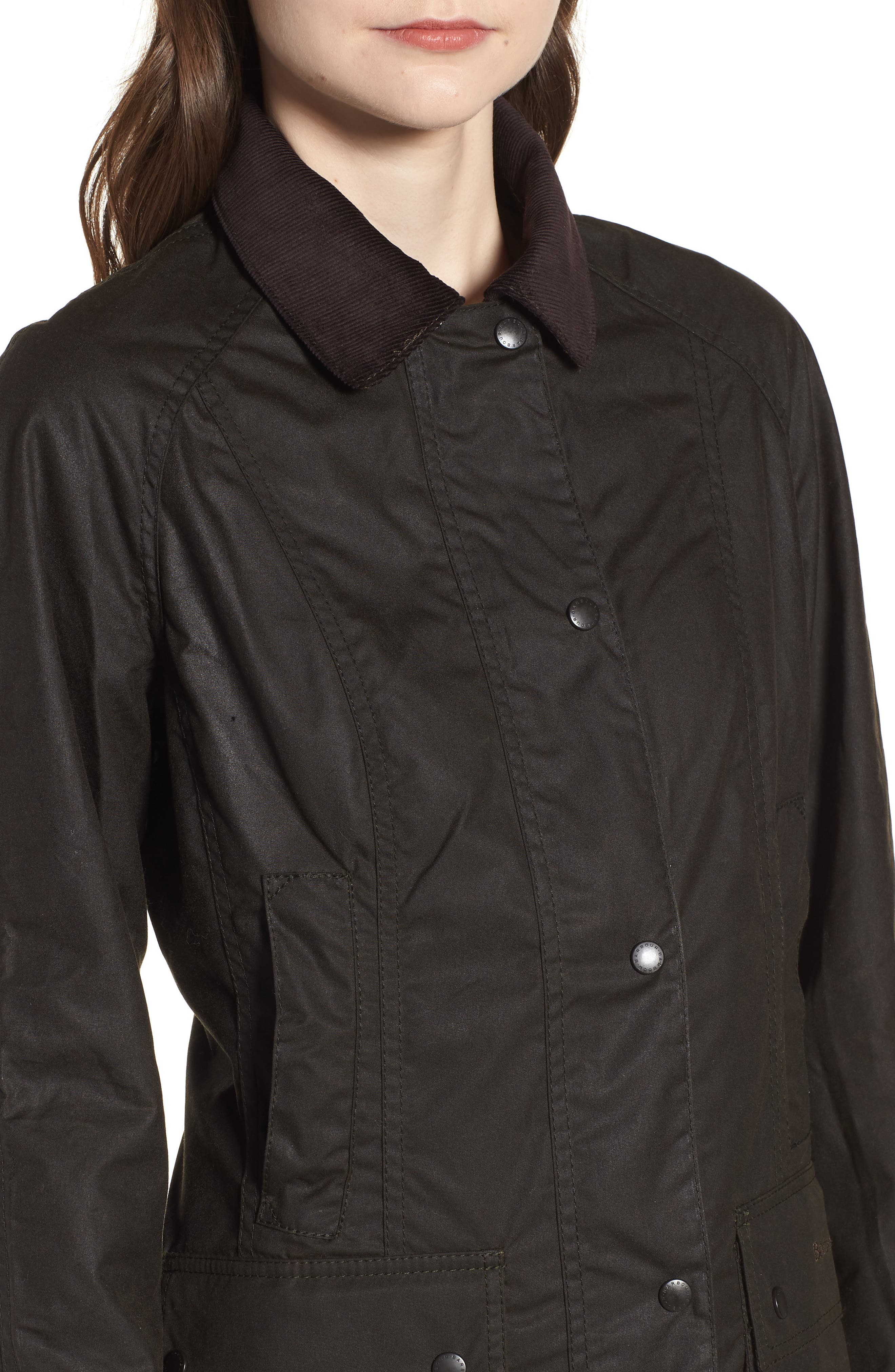 Beadnell Waxed Cotton Jacket,                             Alternate thumbnail 4, color,                             Olive