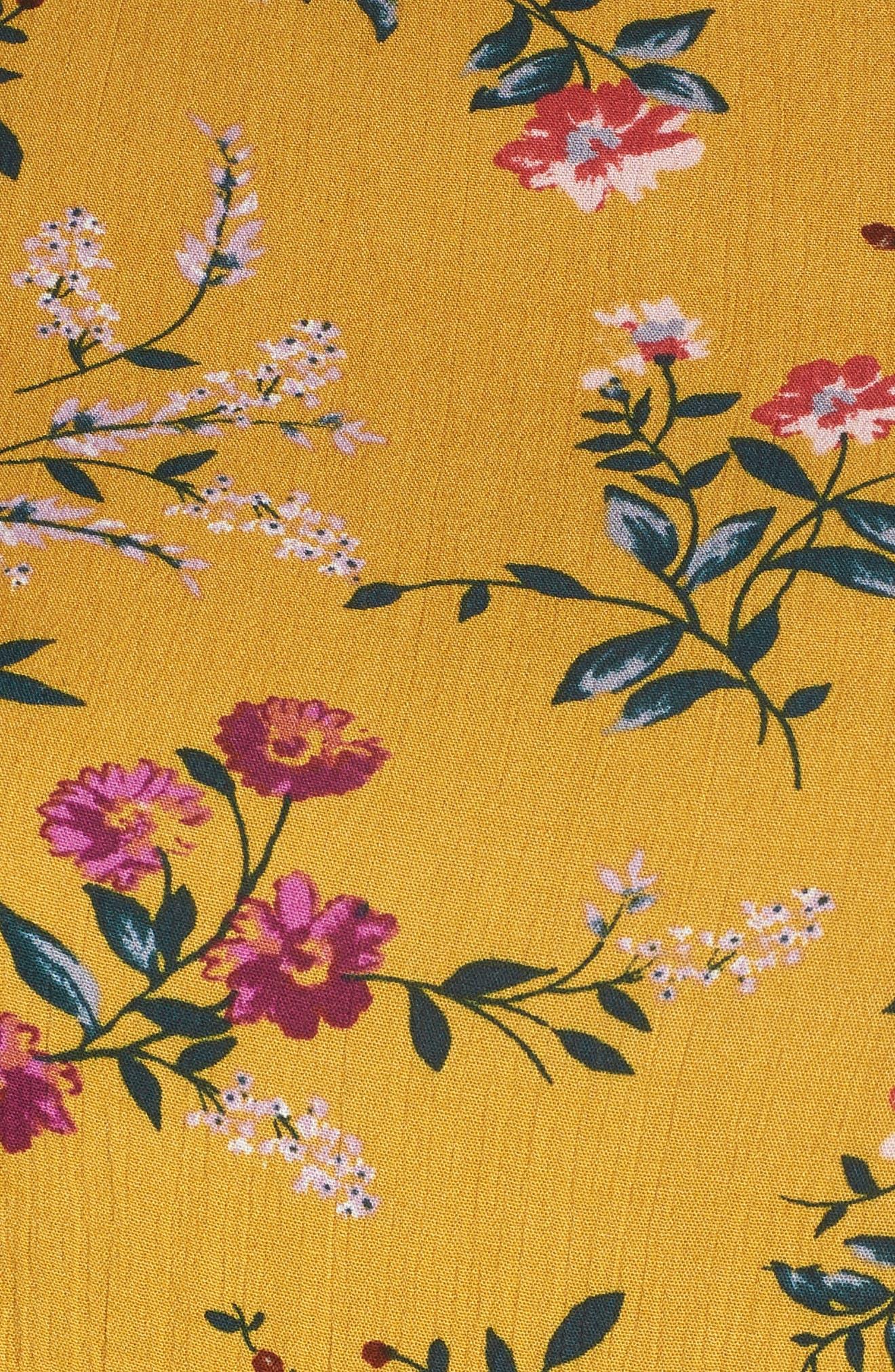 Floral Smocked Cold Shoulder Dress,                             Alternate thumbnail 6, color,                             Mustard Multi Floral