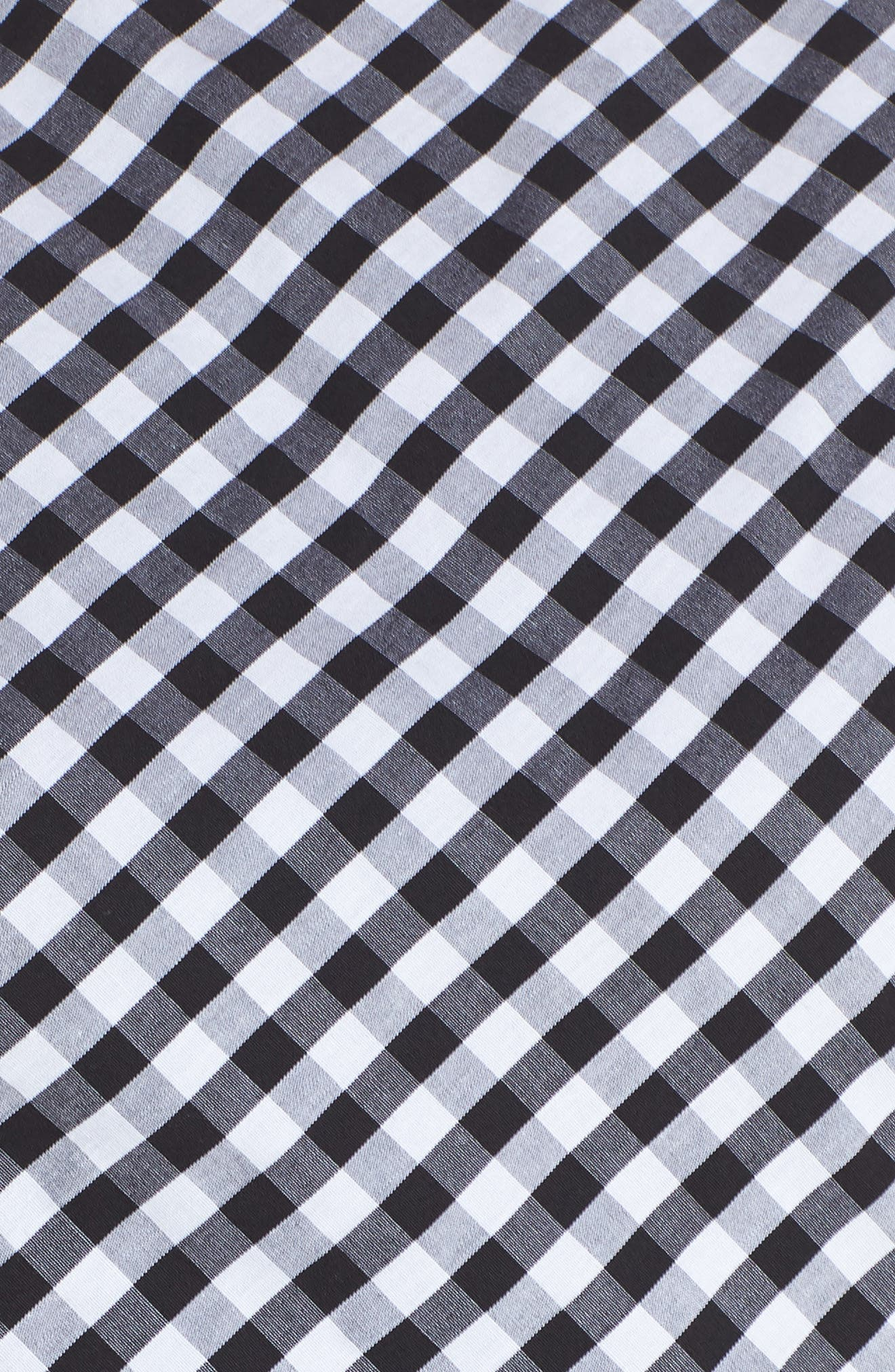 Gingham Tie Front Midi Dress,                             Alternate thumbnail 6, color,                             Ivory/ Black