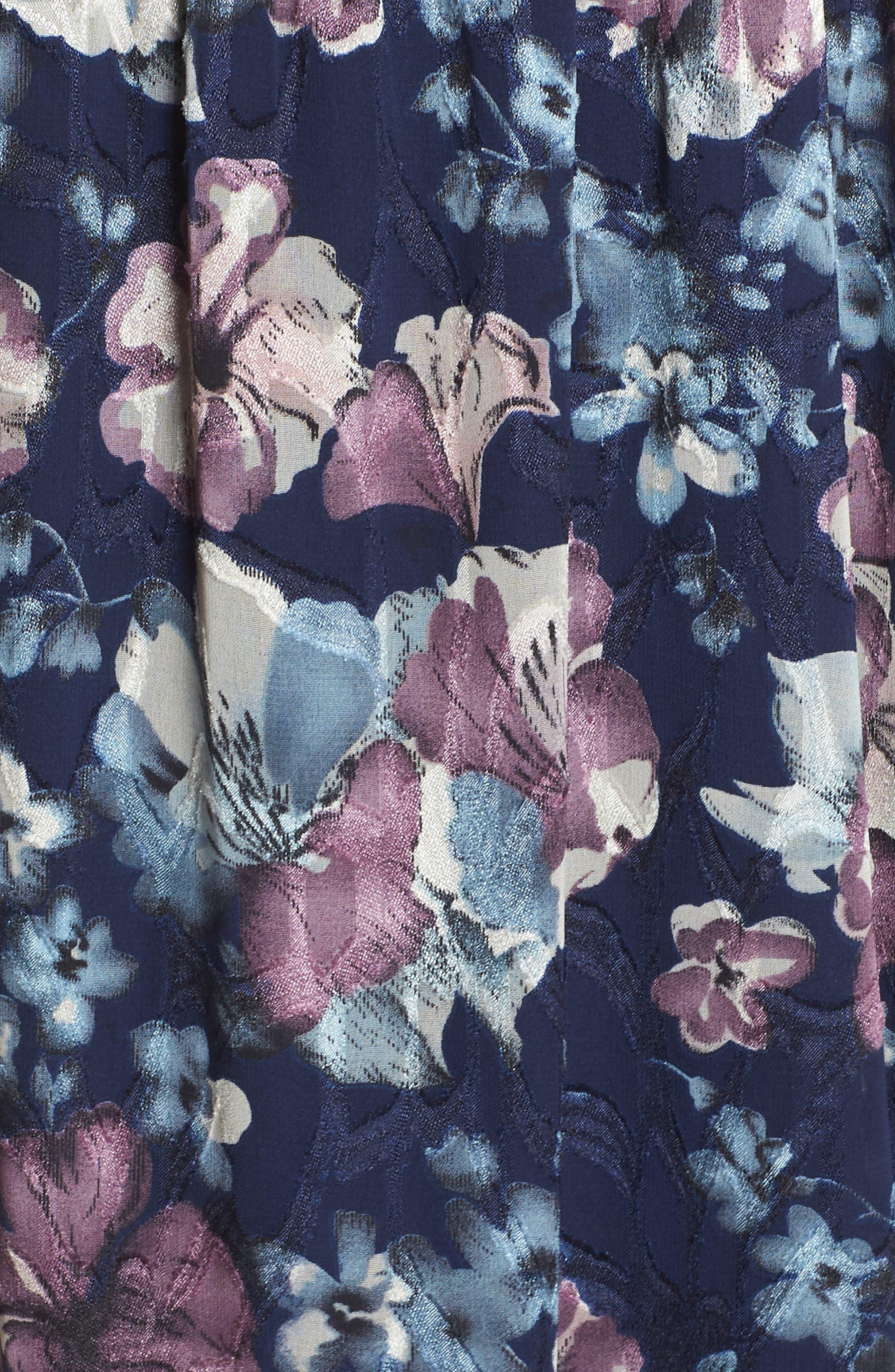 Floral Burnout Off the Shoulder Blouson Dress,                             Alternate thumbnail 6, color,                             Navy Multi