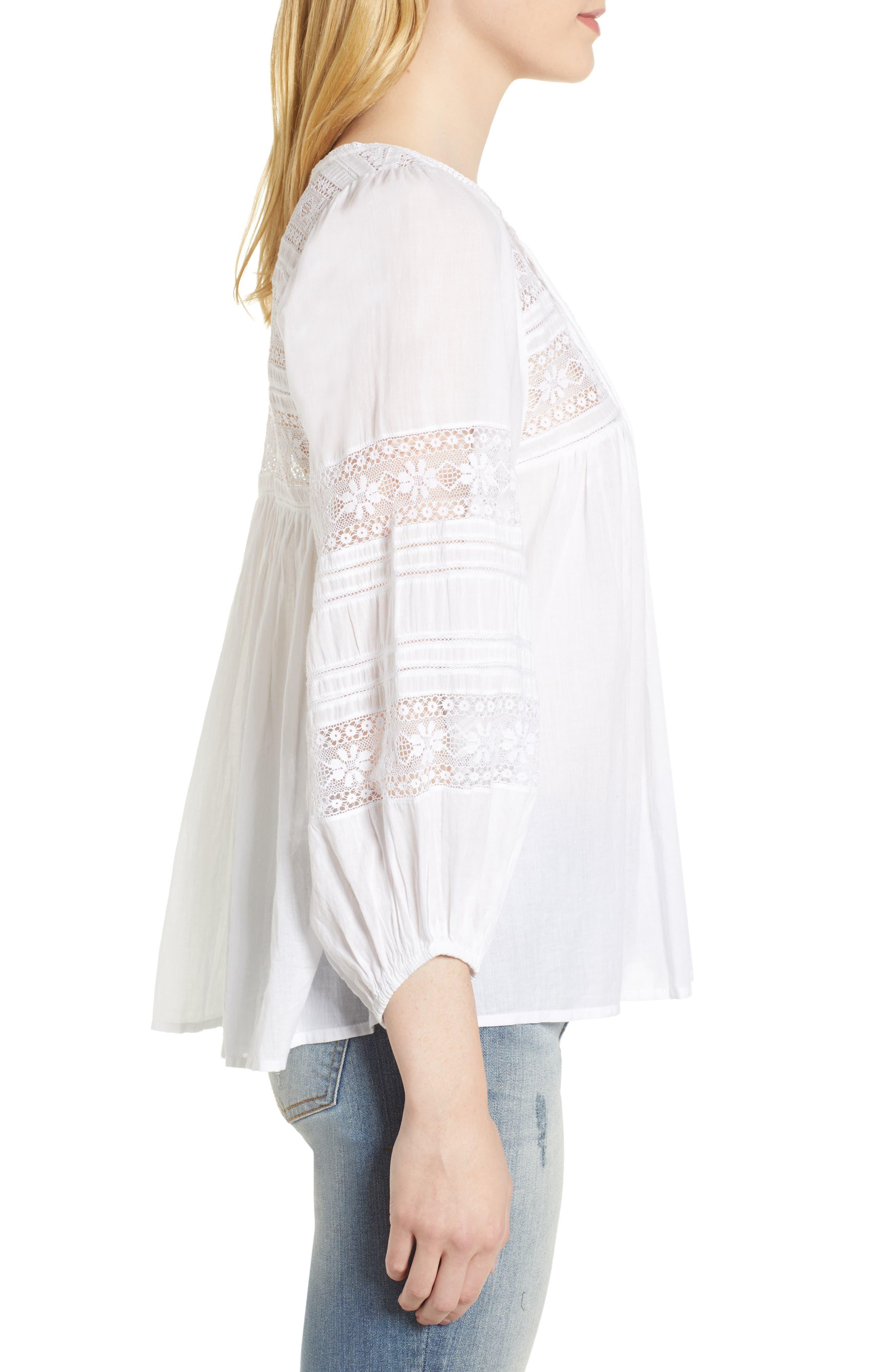 Cotton Lace Peasant Blouse,                             Alternate thumbnail 3, color,                             White