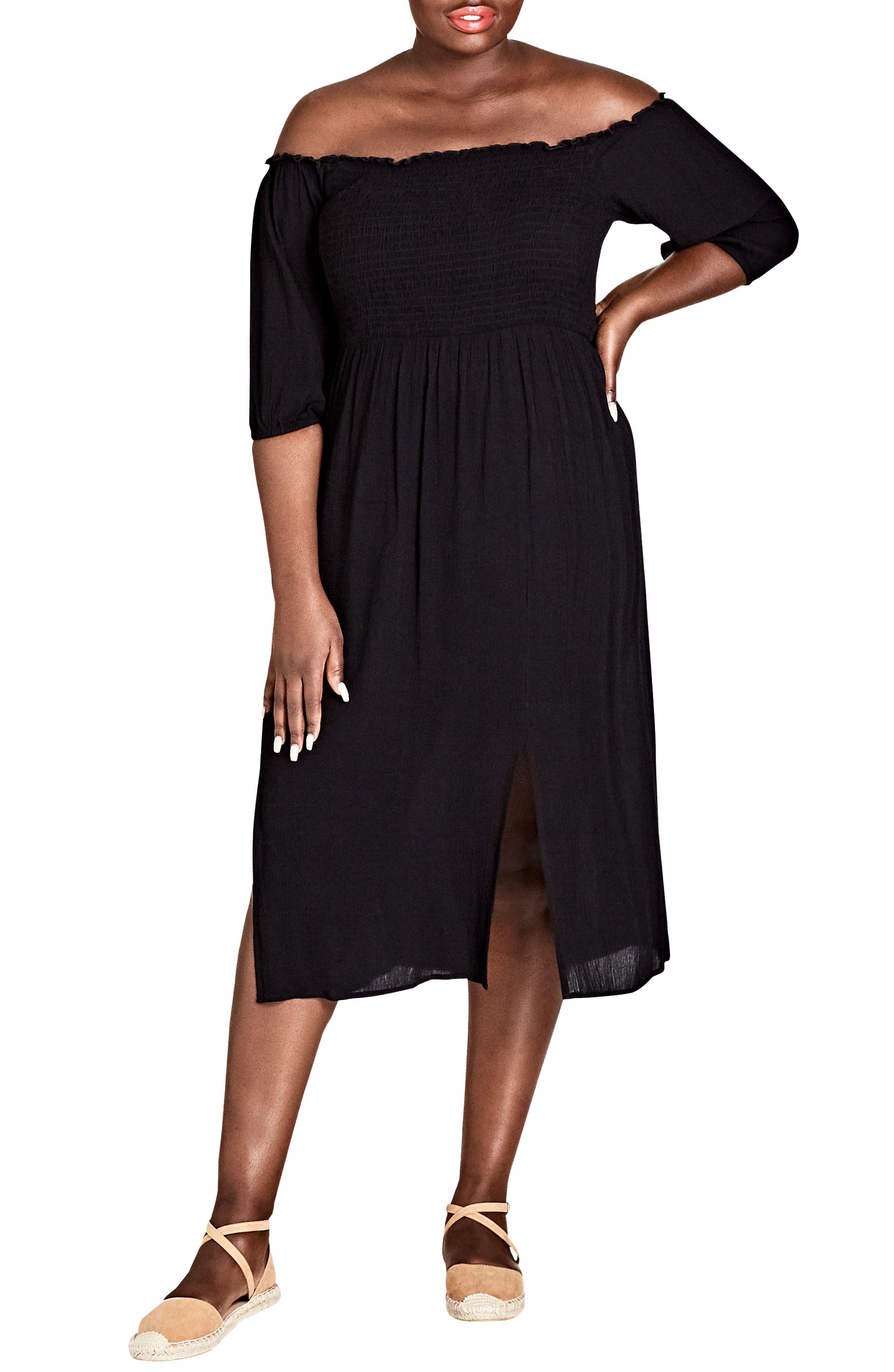 Island Holiday Midi Dress,                             Main thumbnail 1, color,                             Black