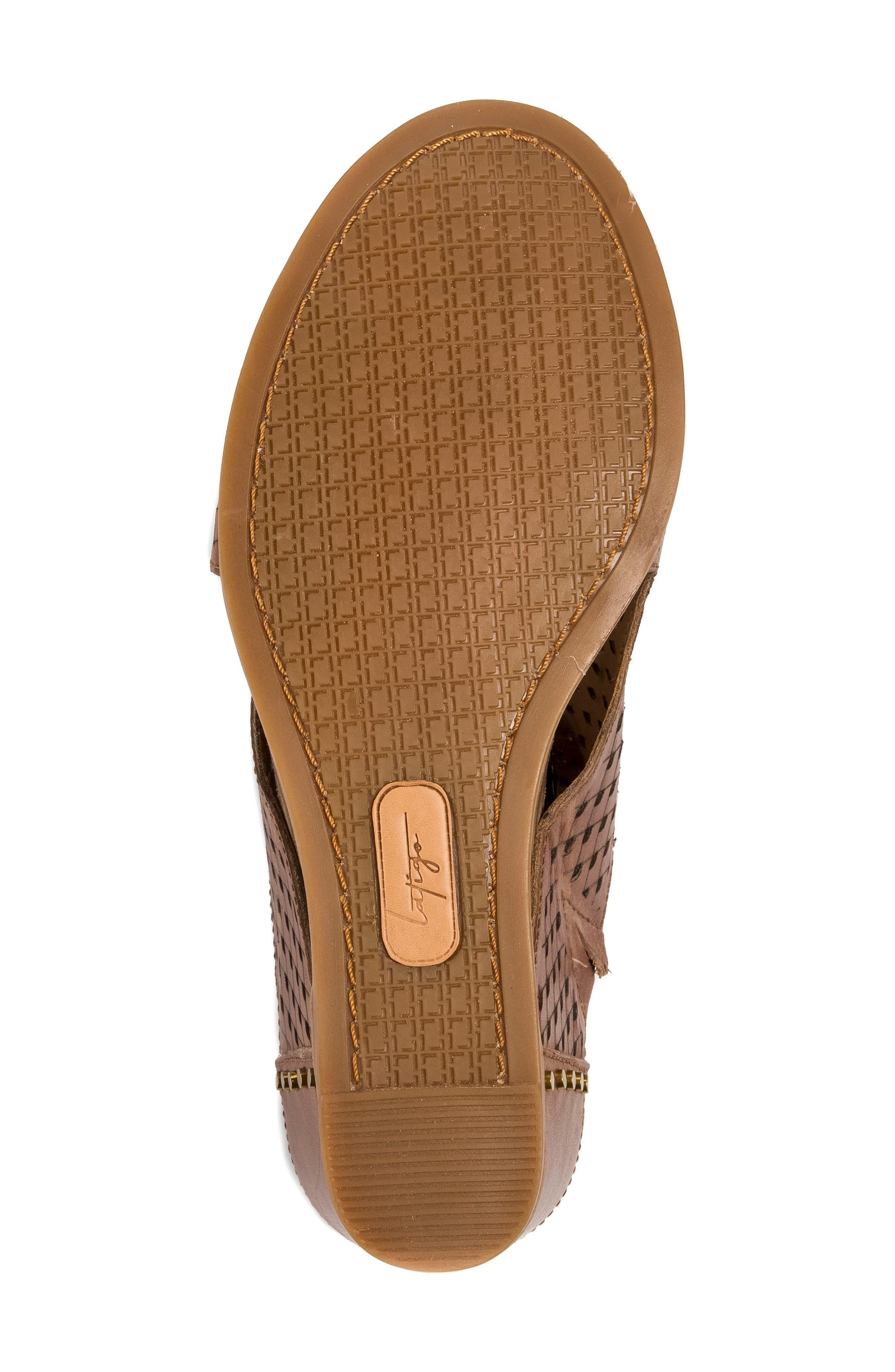 Janis Laser Cut Wedge Sandal,                             Alternate thumbnail 6, color,                             Brush Brown Leather