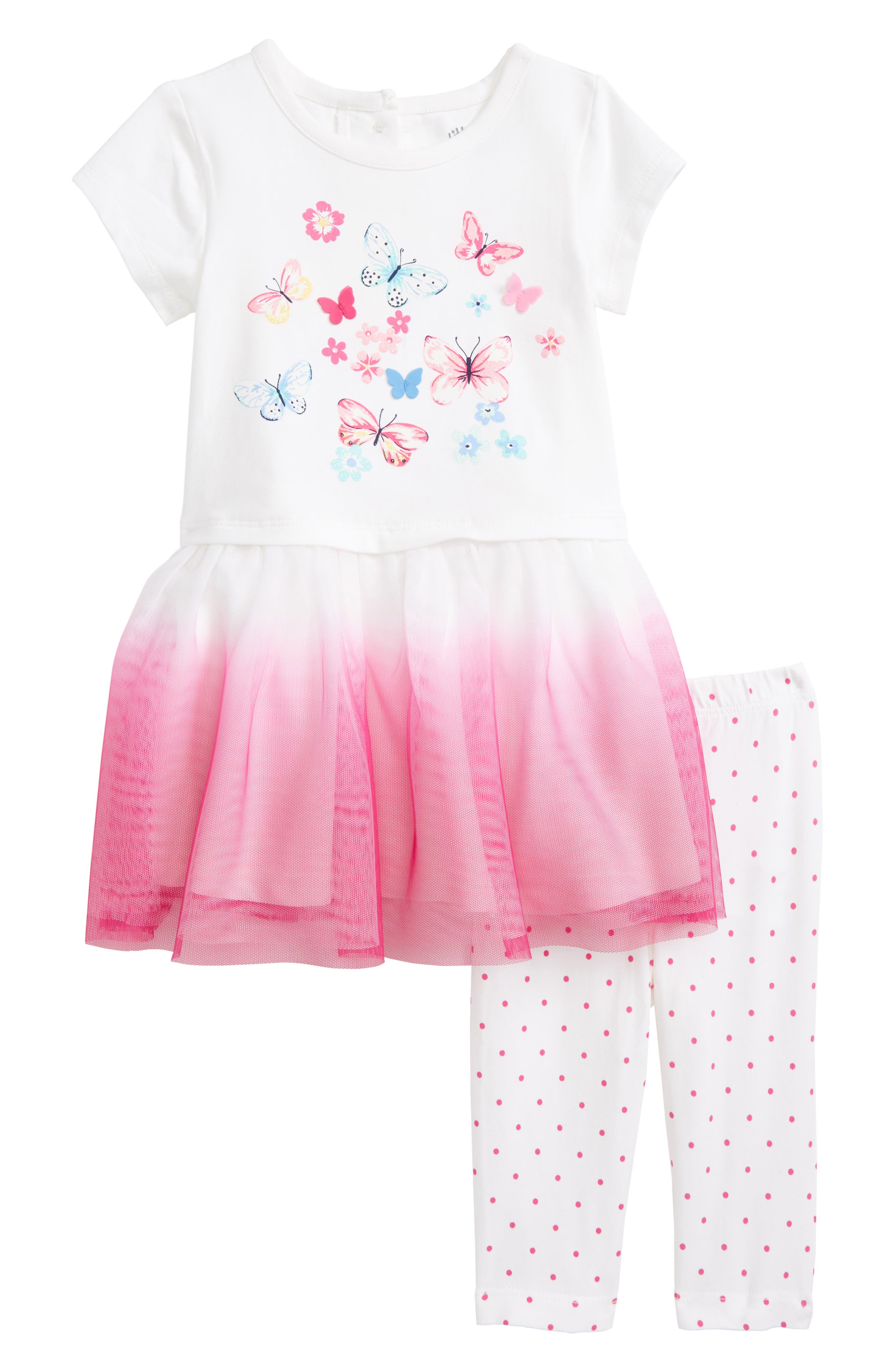 Butterfly Dress & Leggings Set,                         Main,                         color, Pink