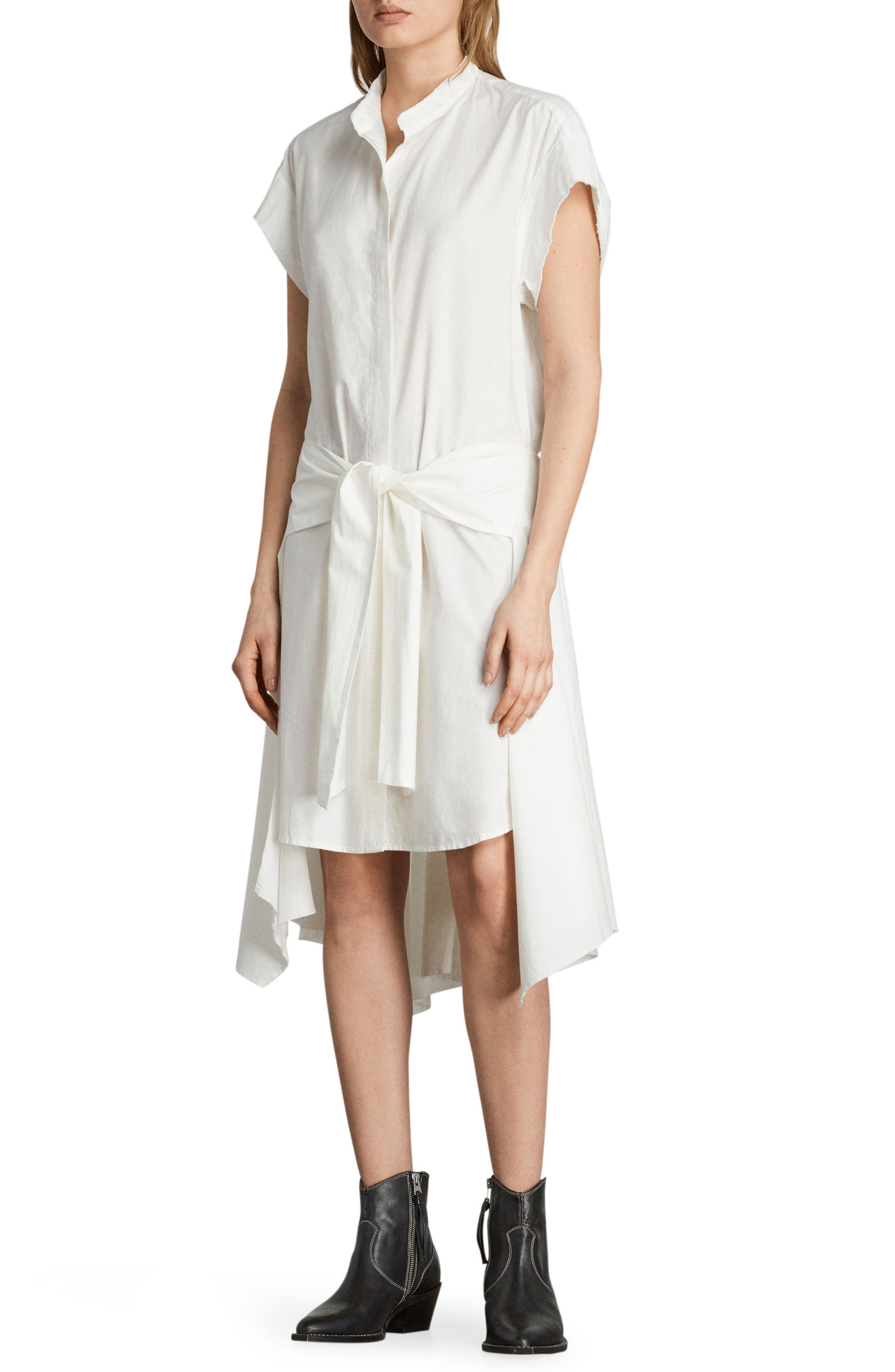 Georgia Tie Waist Shirtdress,                             Alternate thumbnail 3, color,                             Chalk White