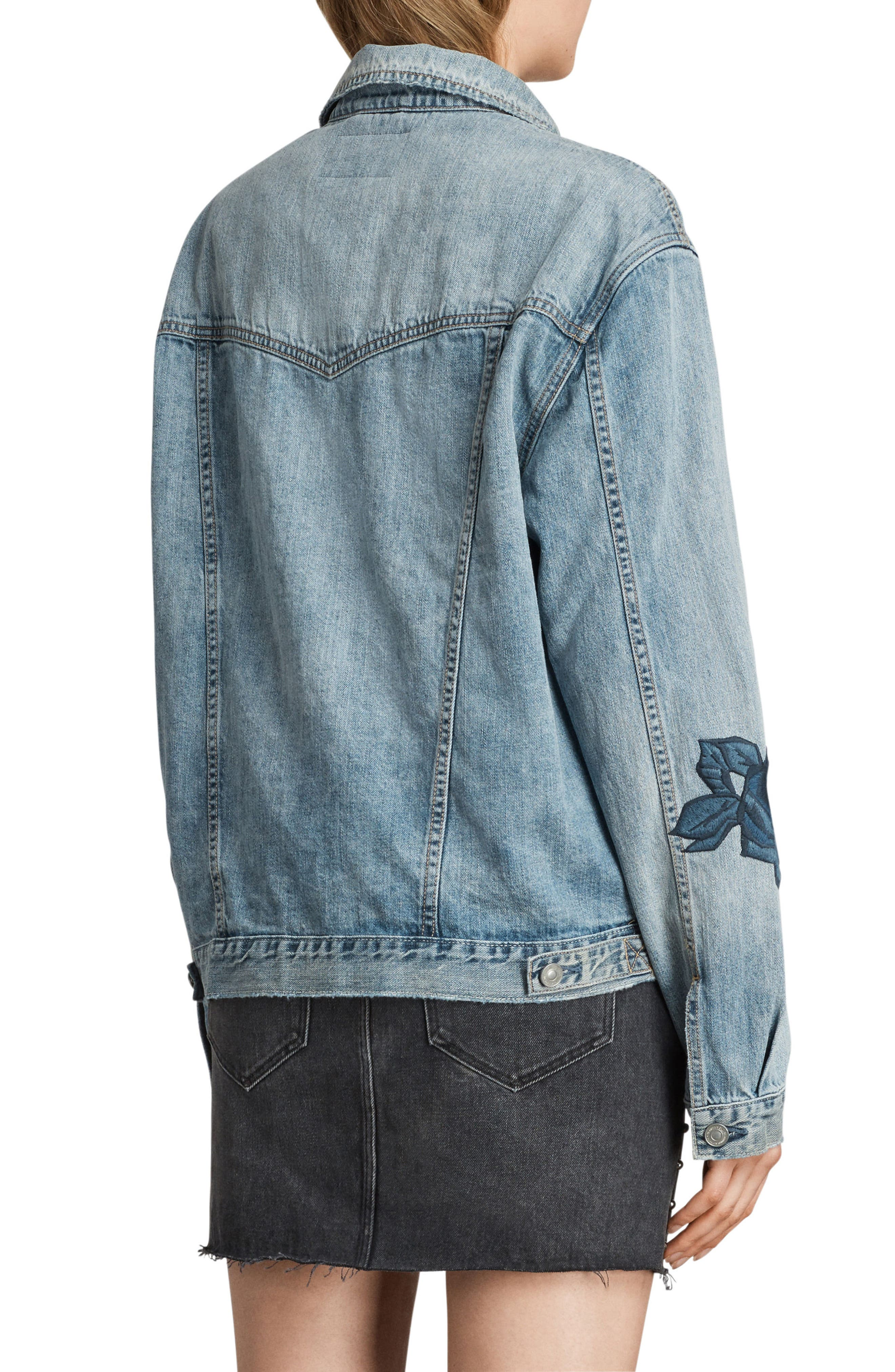 Rose Embroidered Oversize Denim Jacket,                             Alternate thumbnail 2, color,                             Indigo Blue