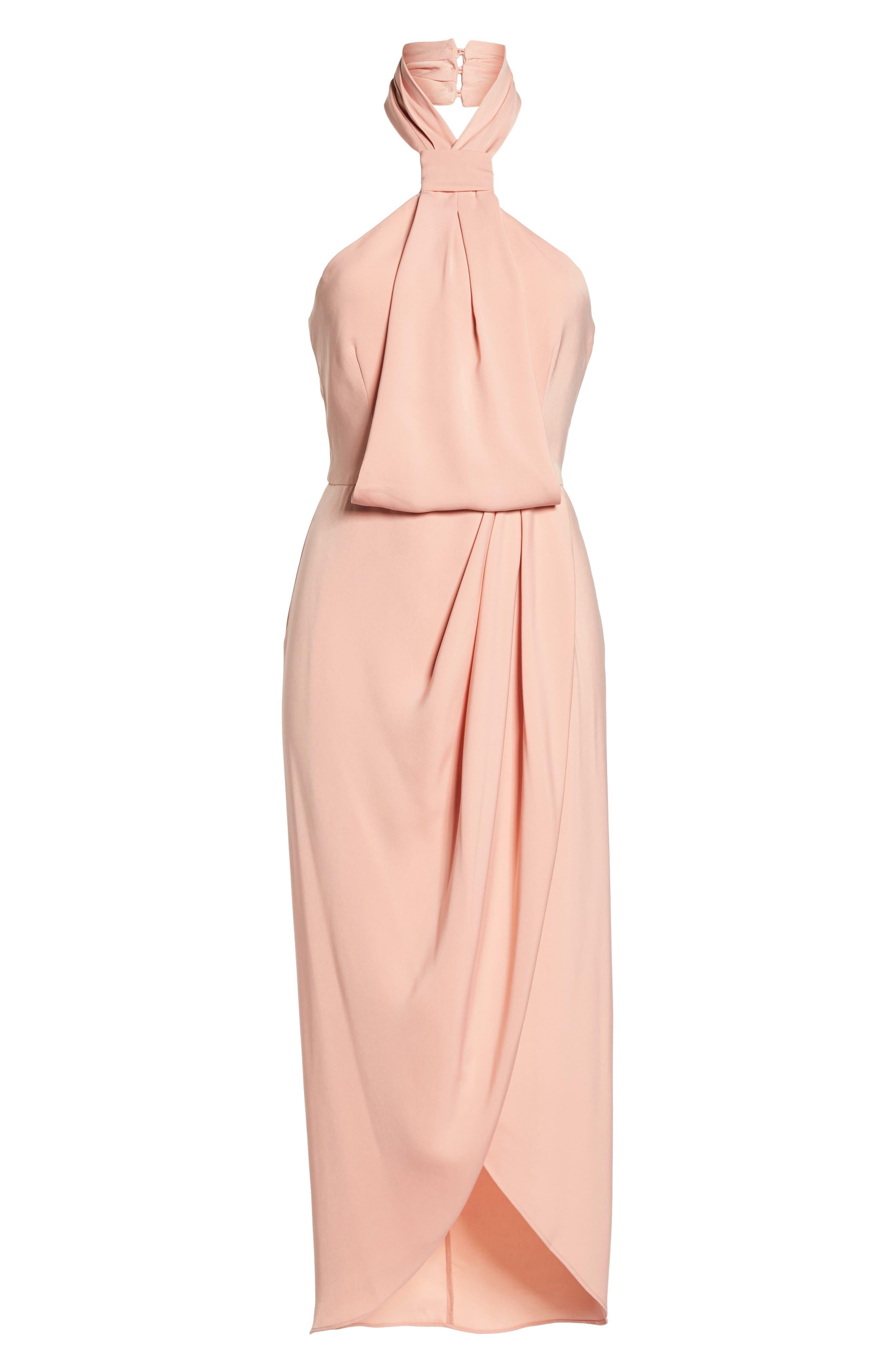 Knotted Tulip Hem Midi Dress,                             Alternate thumbnail 6, color,                             Dusty Pink