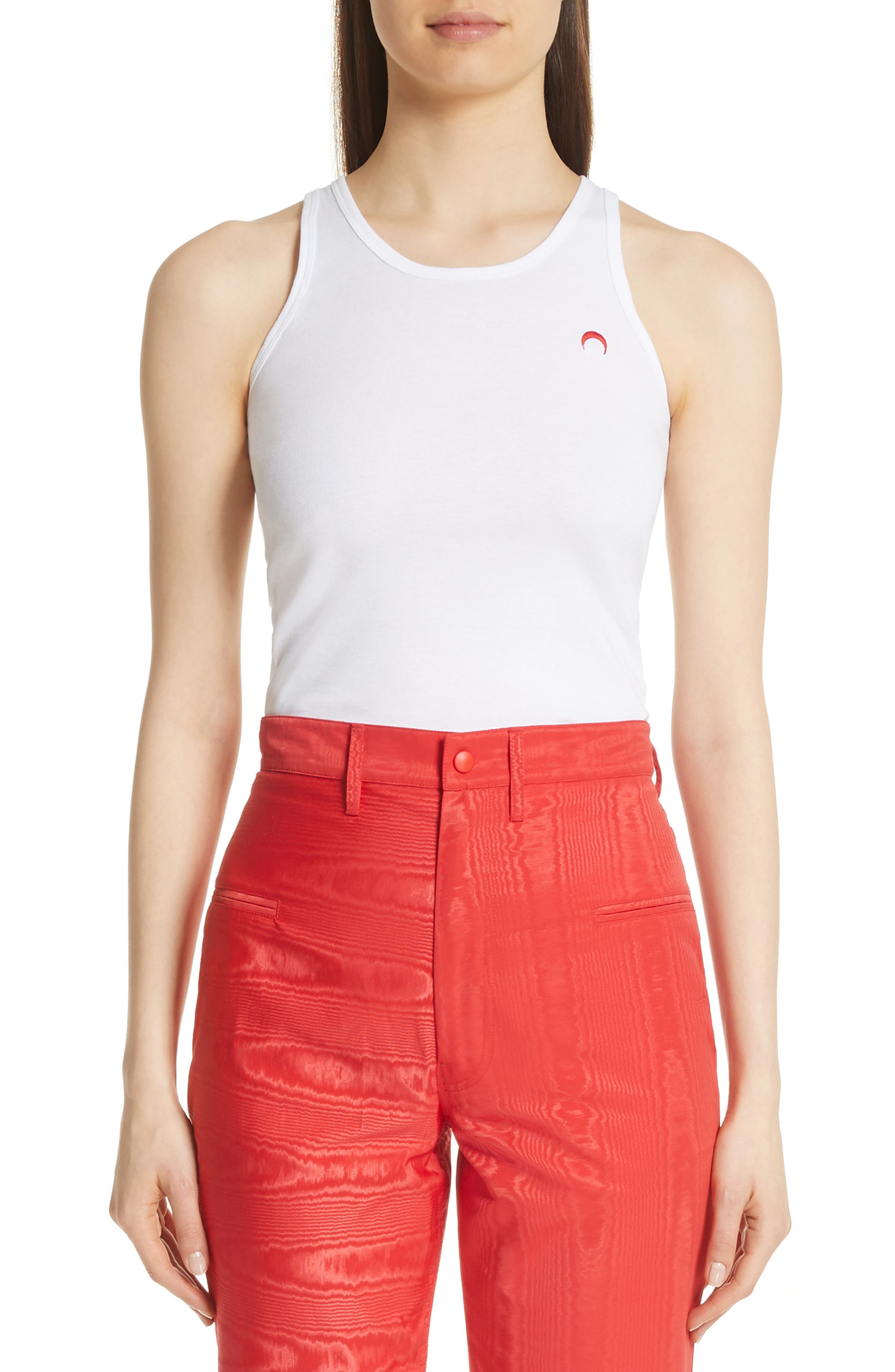 Logo Tank,                         Main,                         color, White/ Red Moon