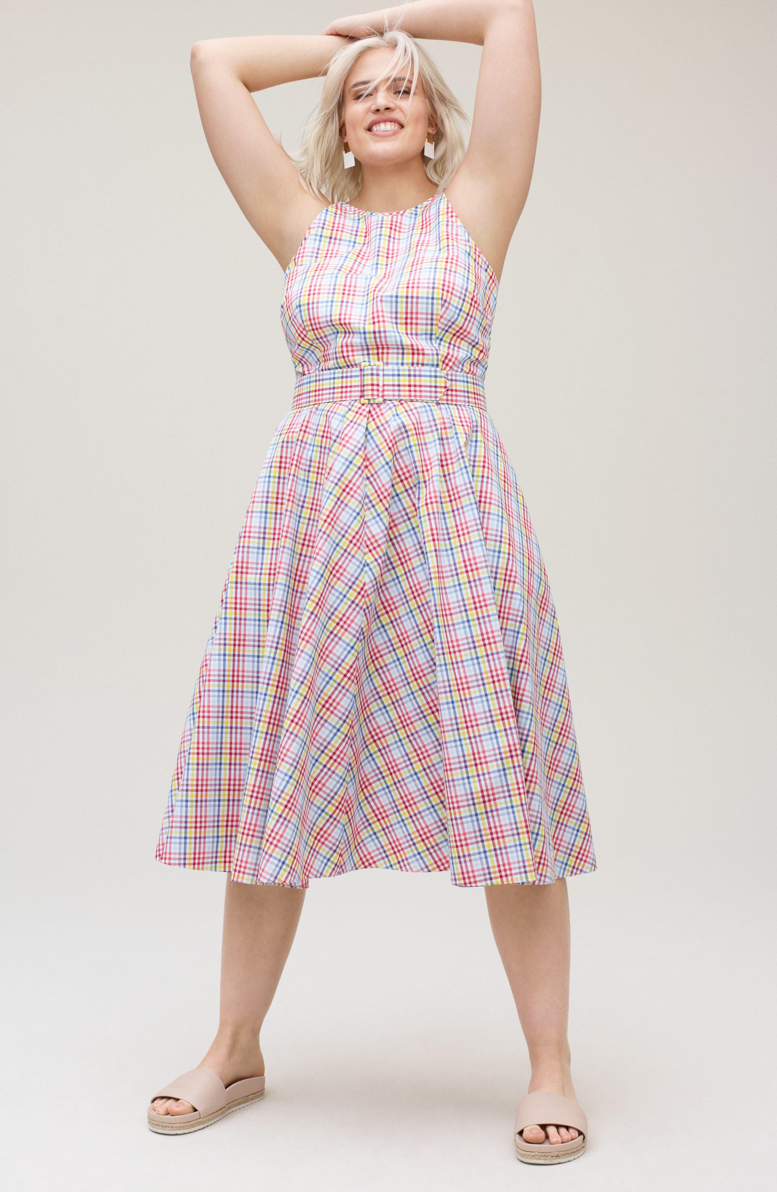 Check Halter Midi Fit & Flare Dress,                             Alternate thumbnail 2, color,                             Red
