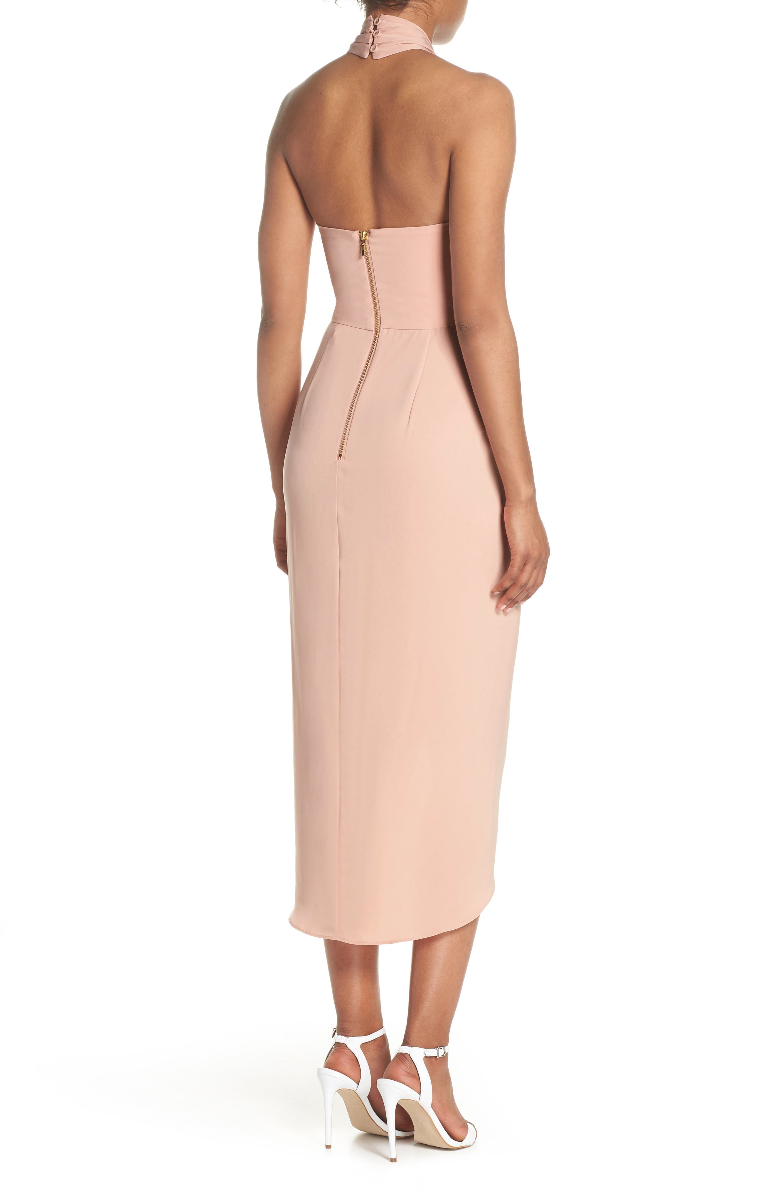 Knotted Tulip Hem Midi Dress,                             Alternate thumbnail 2, color,                             Dusty Pink