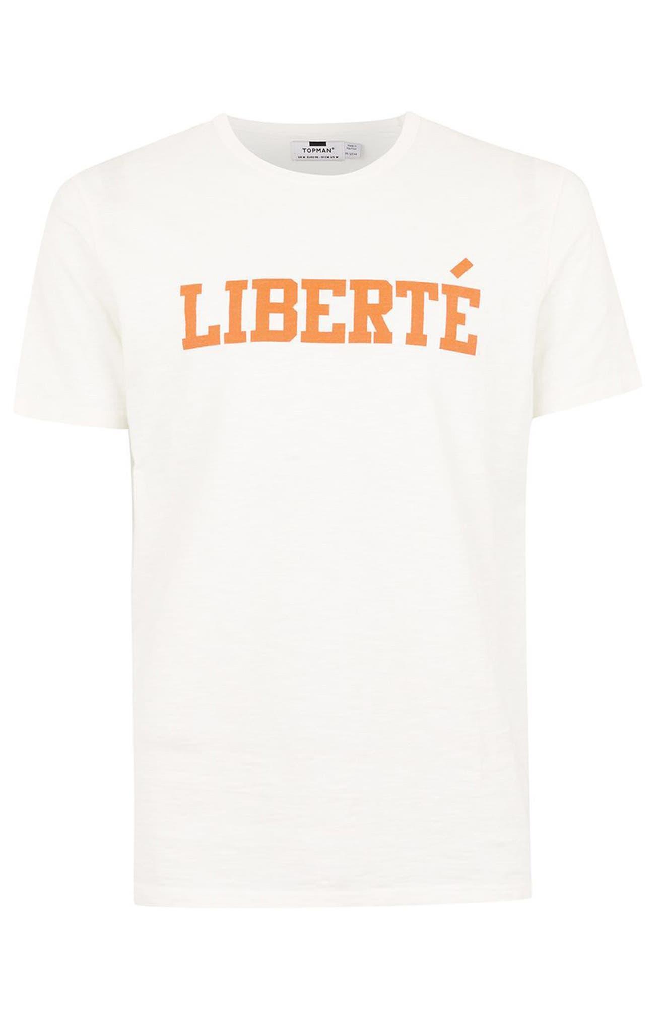 Liberté Graphic T-Shirt,                             Alternate thumbnail 4, color,                             White Multi