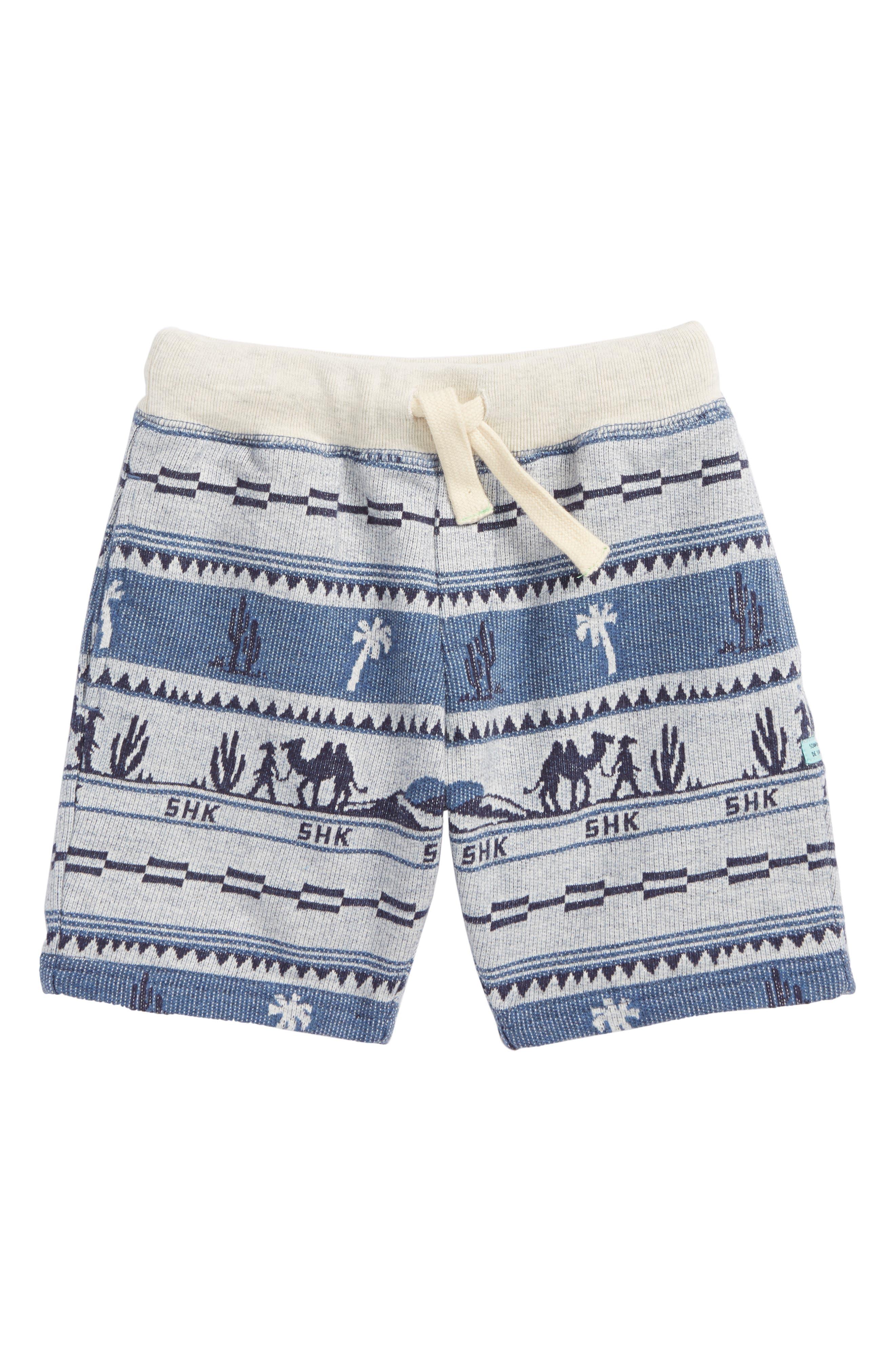 Print Knit Shorts,                             Main thumbnail 1, color,                             Blue