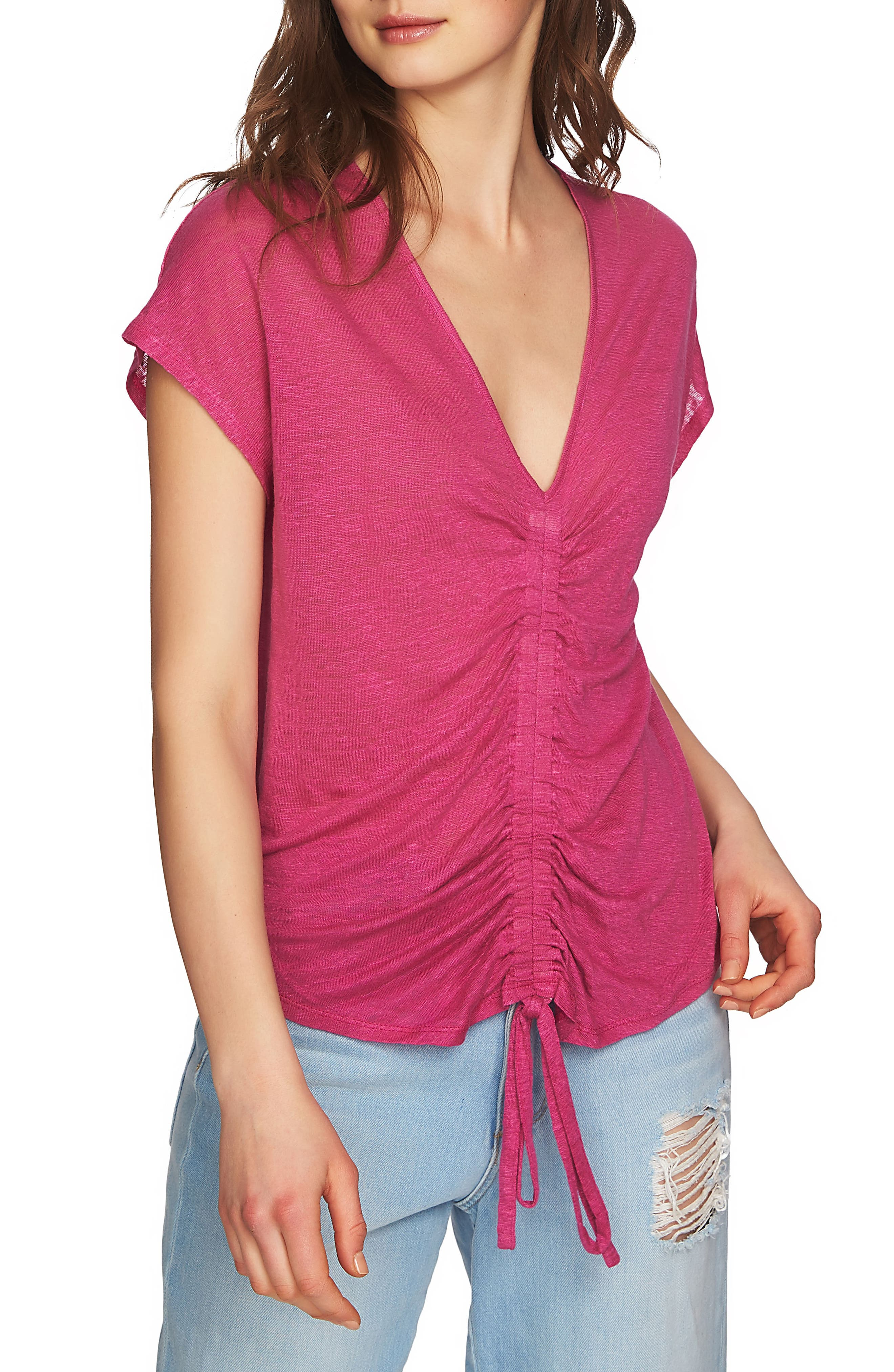 Cinched Front Linen Top,                             Alternate thumbnail 3, color,                             Magenta