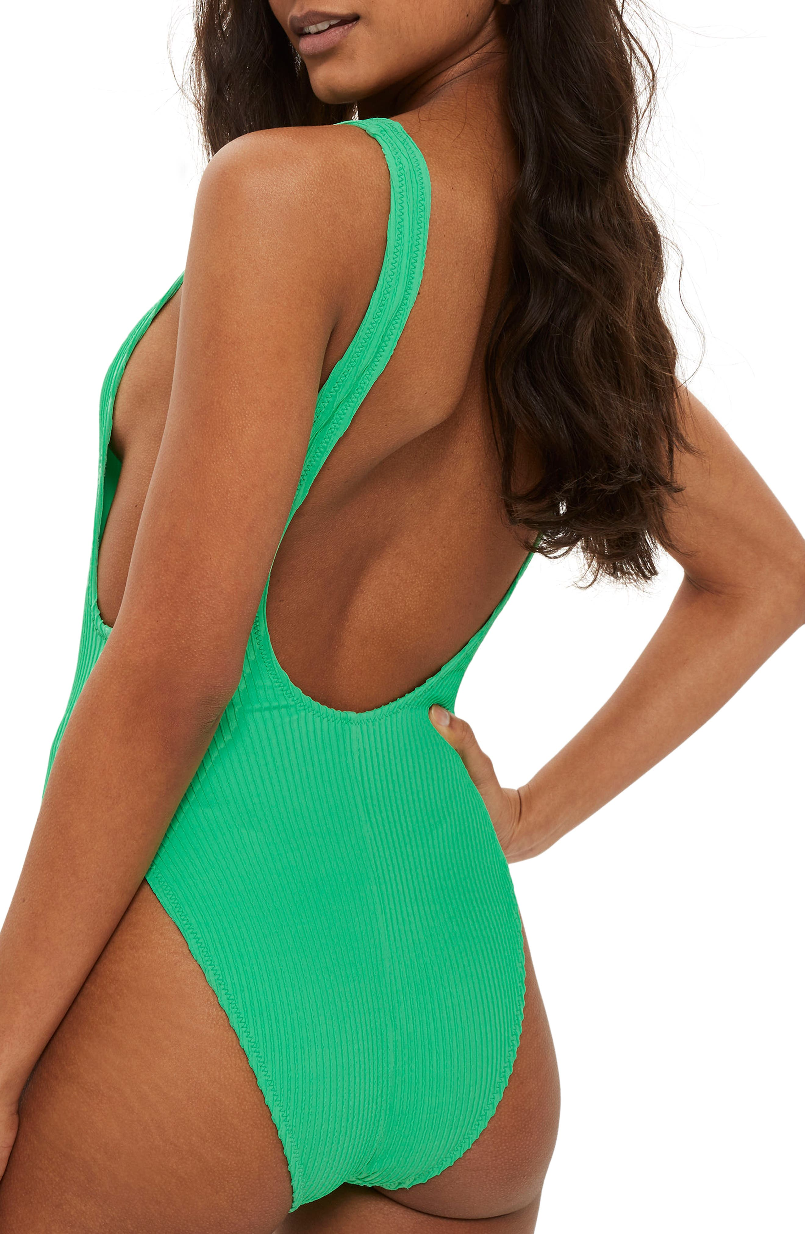 Wavy Rib Scoop Swimsuit,                             Alternate thumbnail 2, color,                             Green