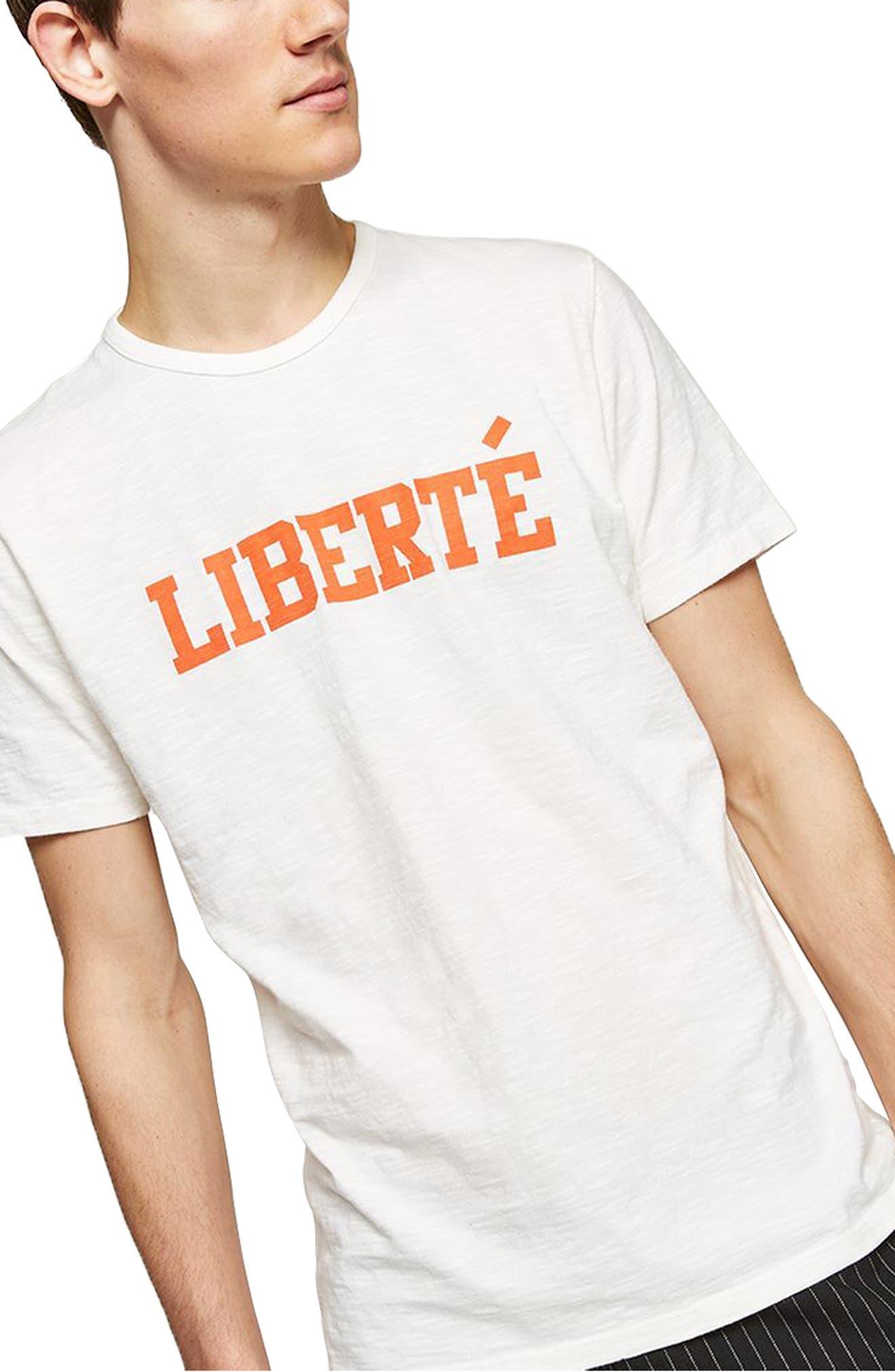 Liberté Graphic T-Shirt,                             Main thumbnail 1, color,                             White Multi