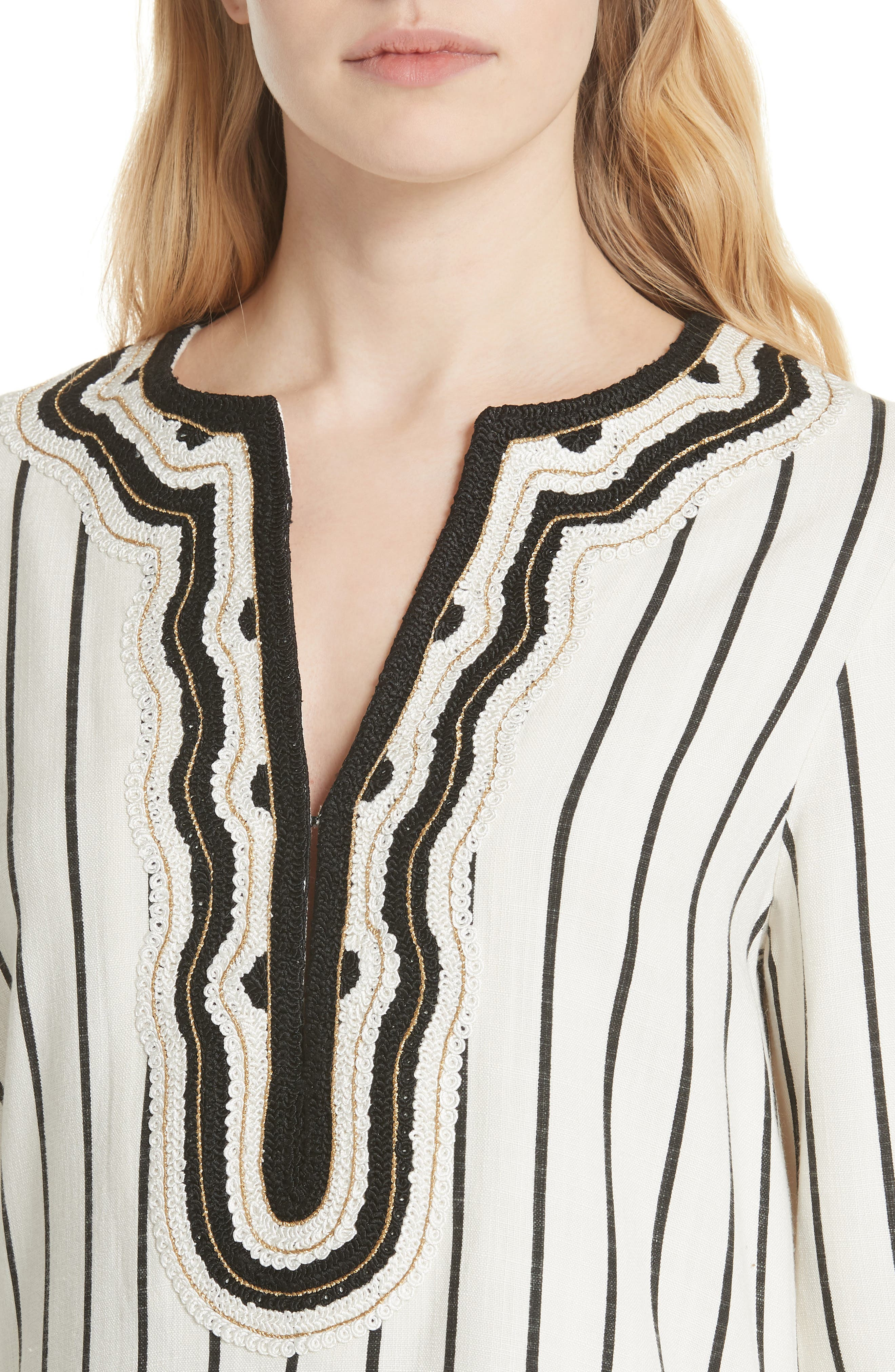 Tory Embellished Stripe Tunic,                             Alternate thumbnail 4, color,                             New Ivory/ Black