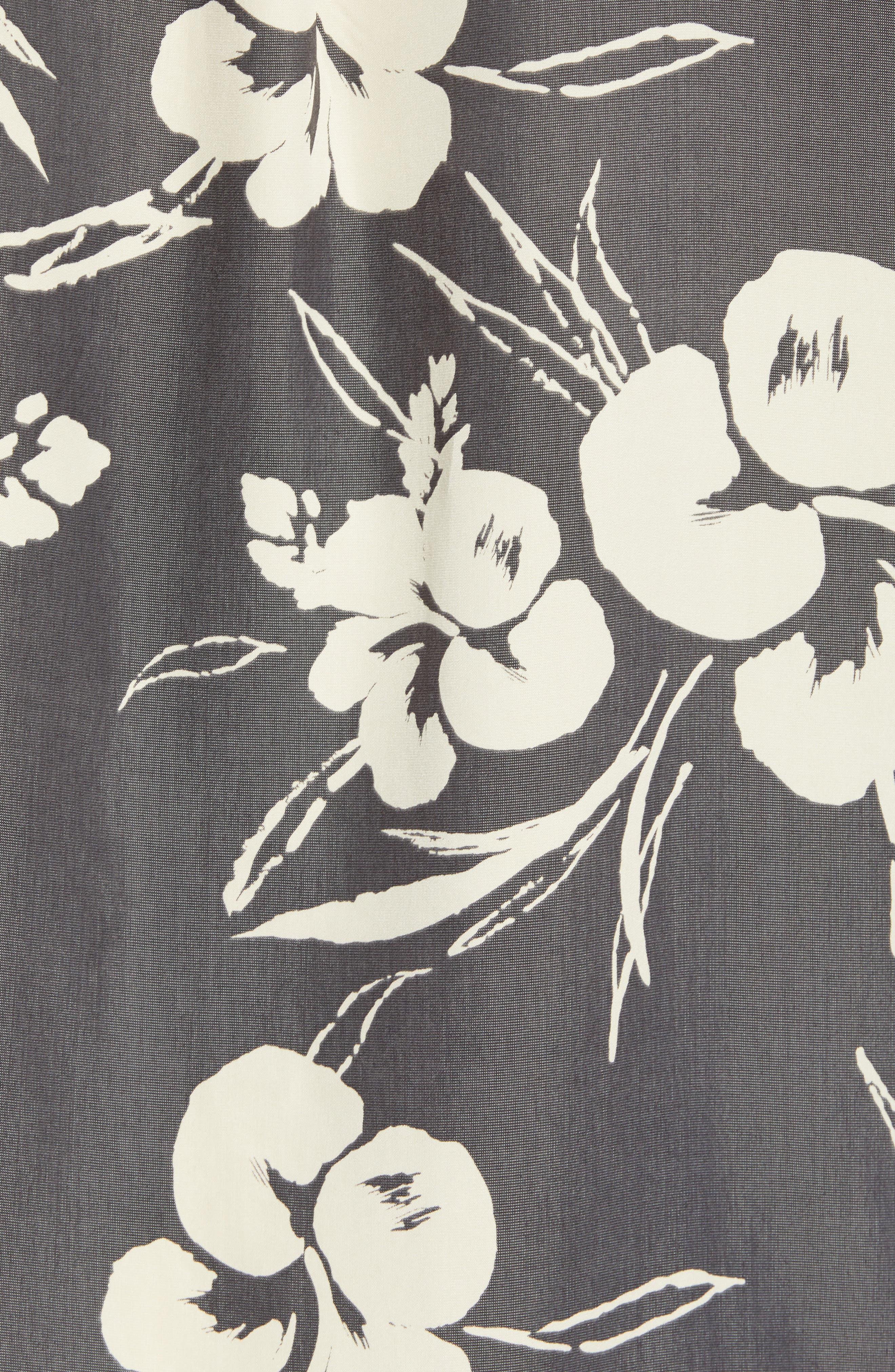 Aloha Print Sport Shirt,                             Alternate thumbnail 5, color,                             Dark Charcoal