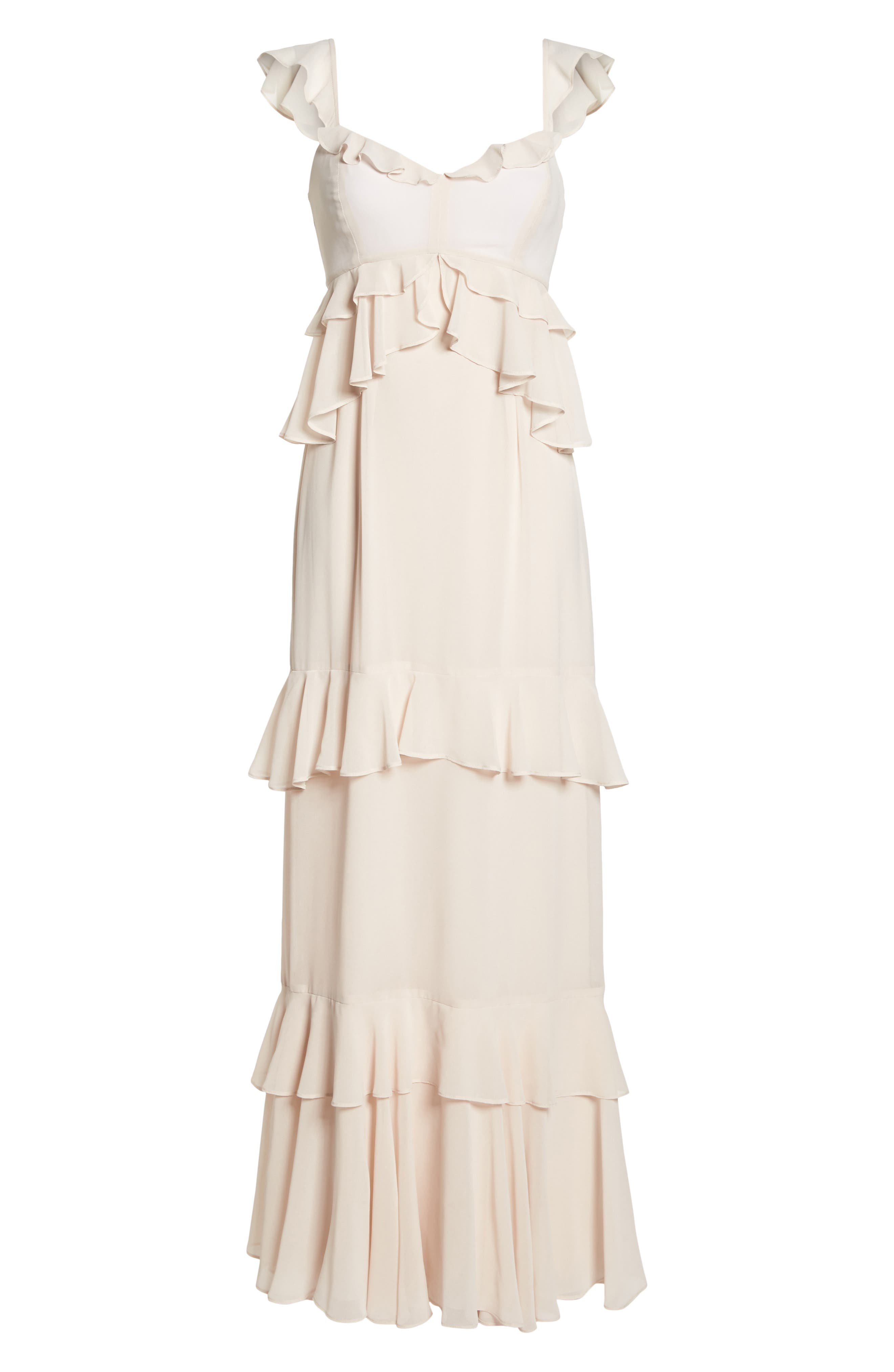 The Gywneth Ruffle Maxi Gown,                             Alternate thumbnail 6, color,                             Champagne