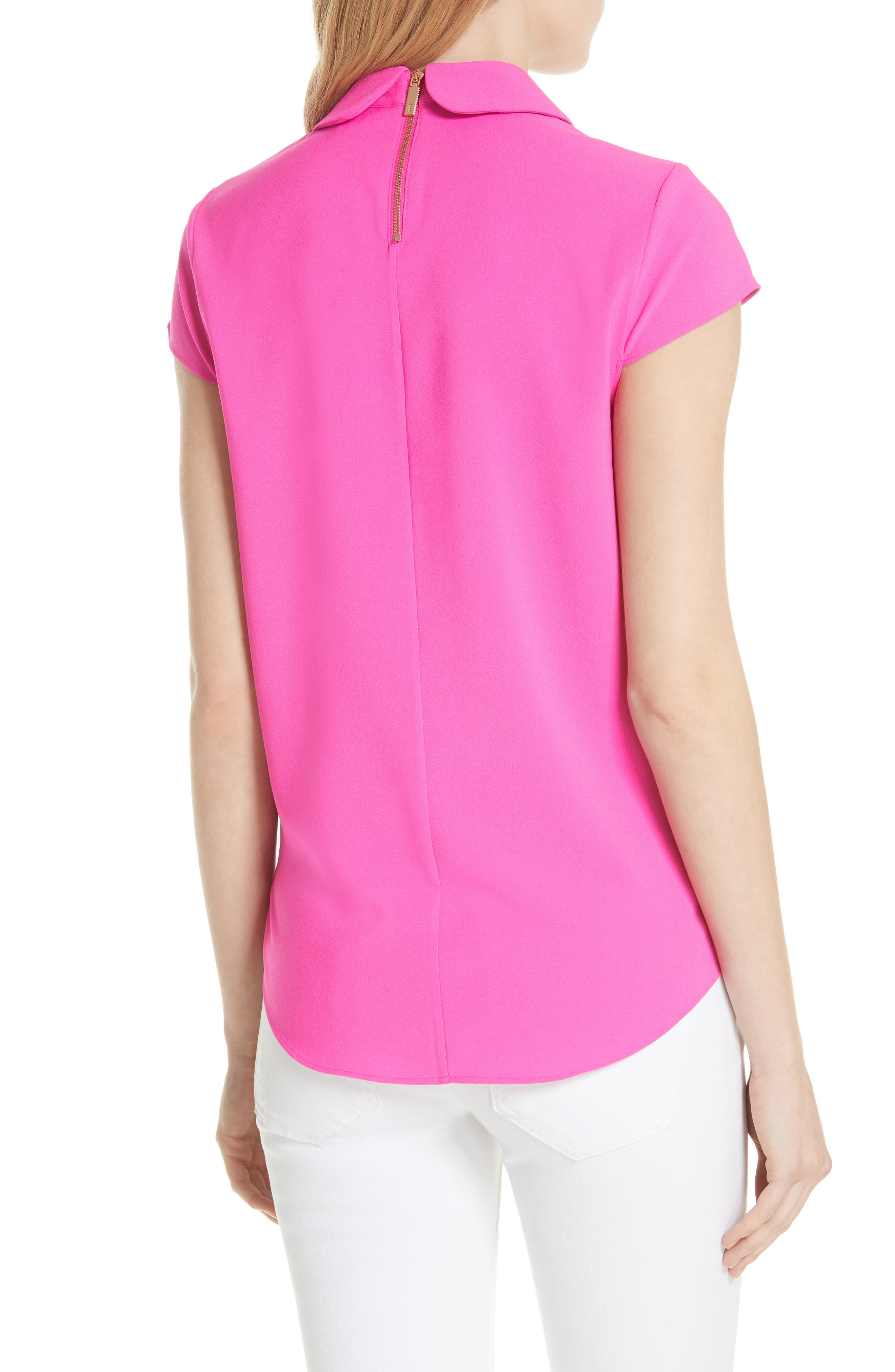 Ammah Embellished Collar Crepe Top,                             Alternate thumbnail 2, color,                             Neon Pink