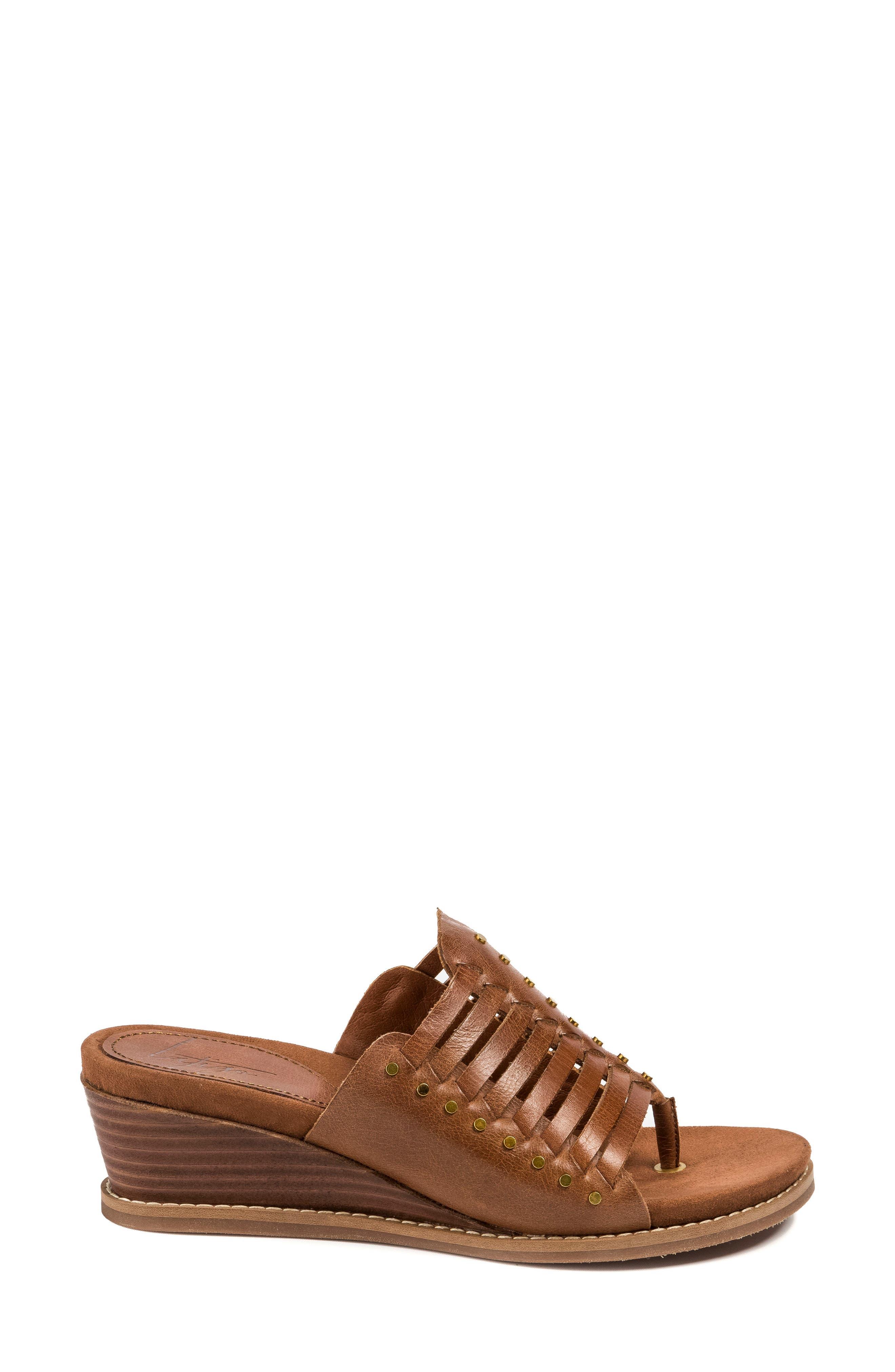 Winnie Wedge Sandal,                             Alternate thumbnail 3, color,                             Brush Brown Leather