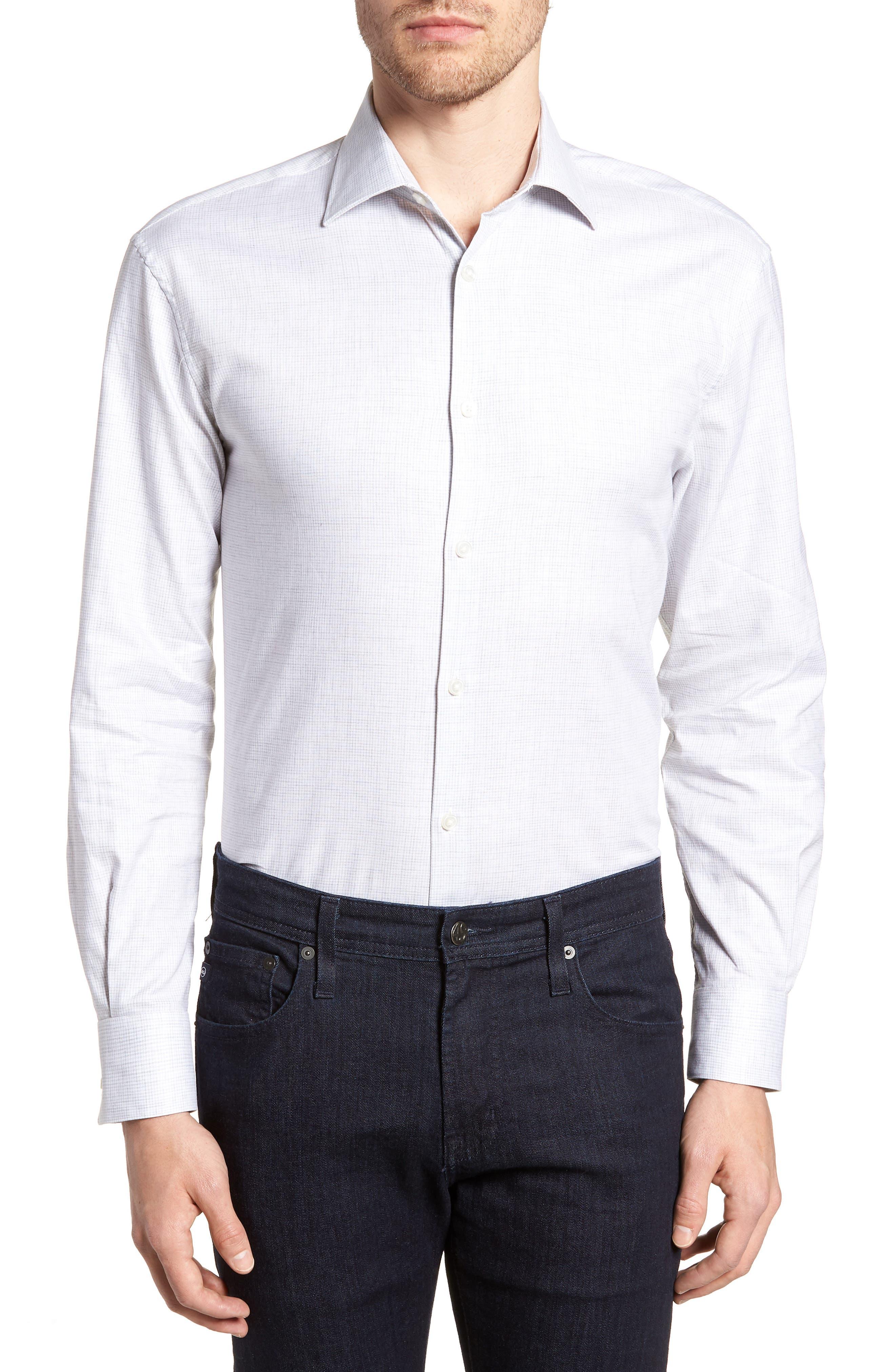 Regular Fit Stretch Check Dress Shirt,                             Main thumbnail 1, color,                             Grey