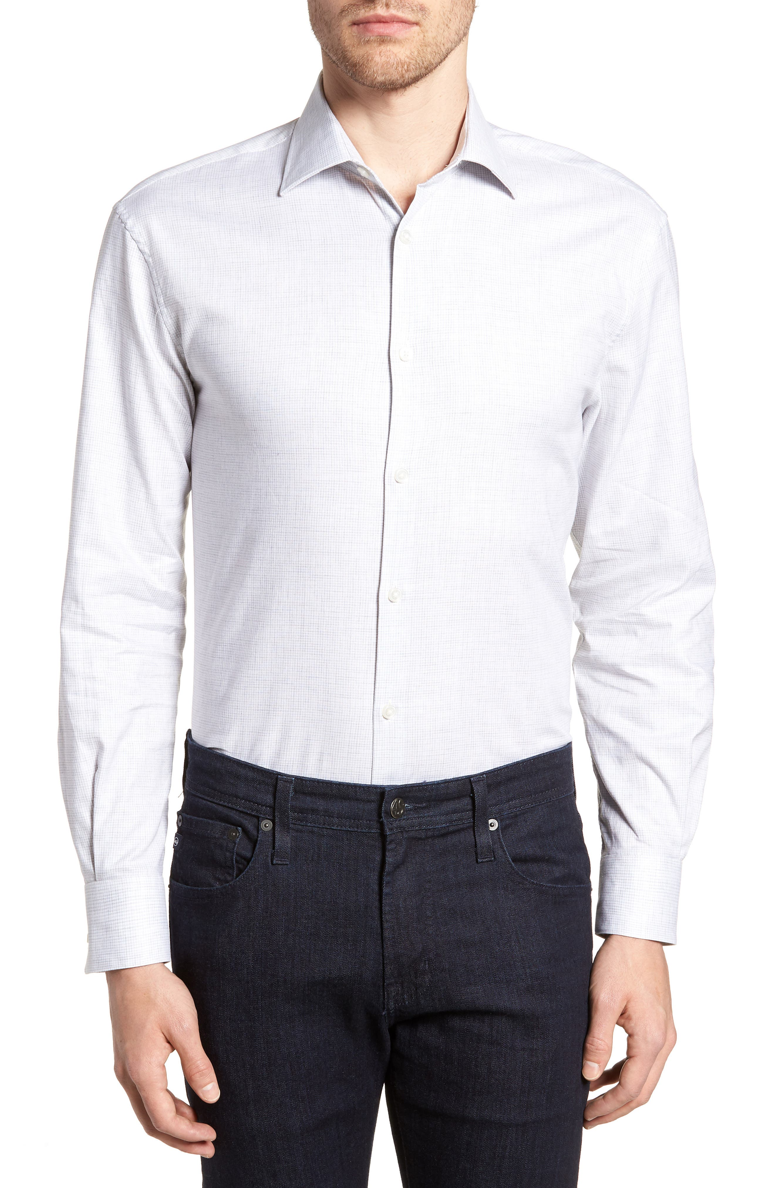 Regular Fit Stretch Check Dress Shirt,                         Main,                         color, Grey