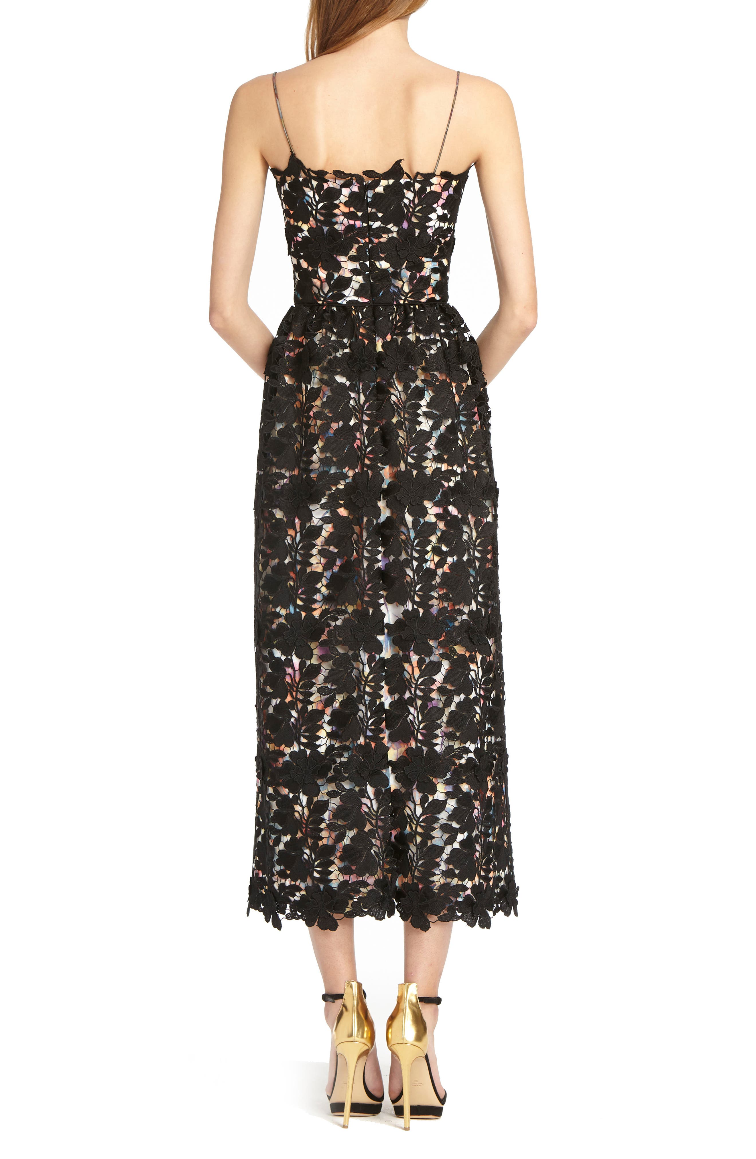 Lace Tea Length Dress,                             Alternate thumbnail 2, color,                             Watercolor Black