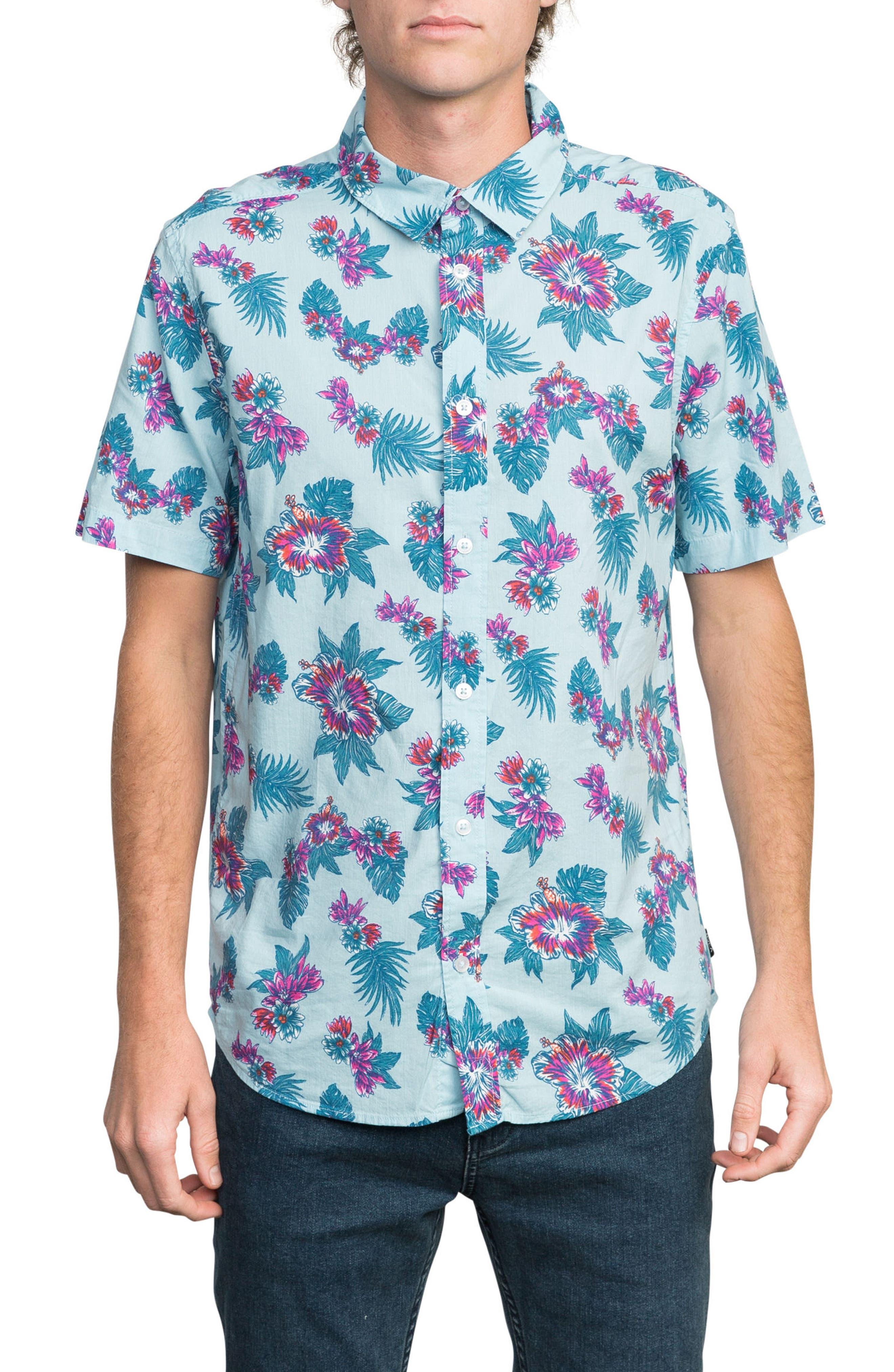 McMillan Floral Woven Shirt,                             Main thumbnail 1, color,                             Blue Floral