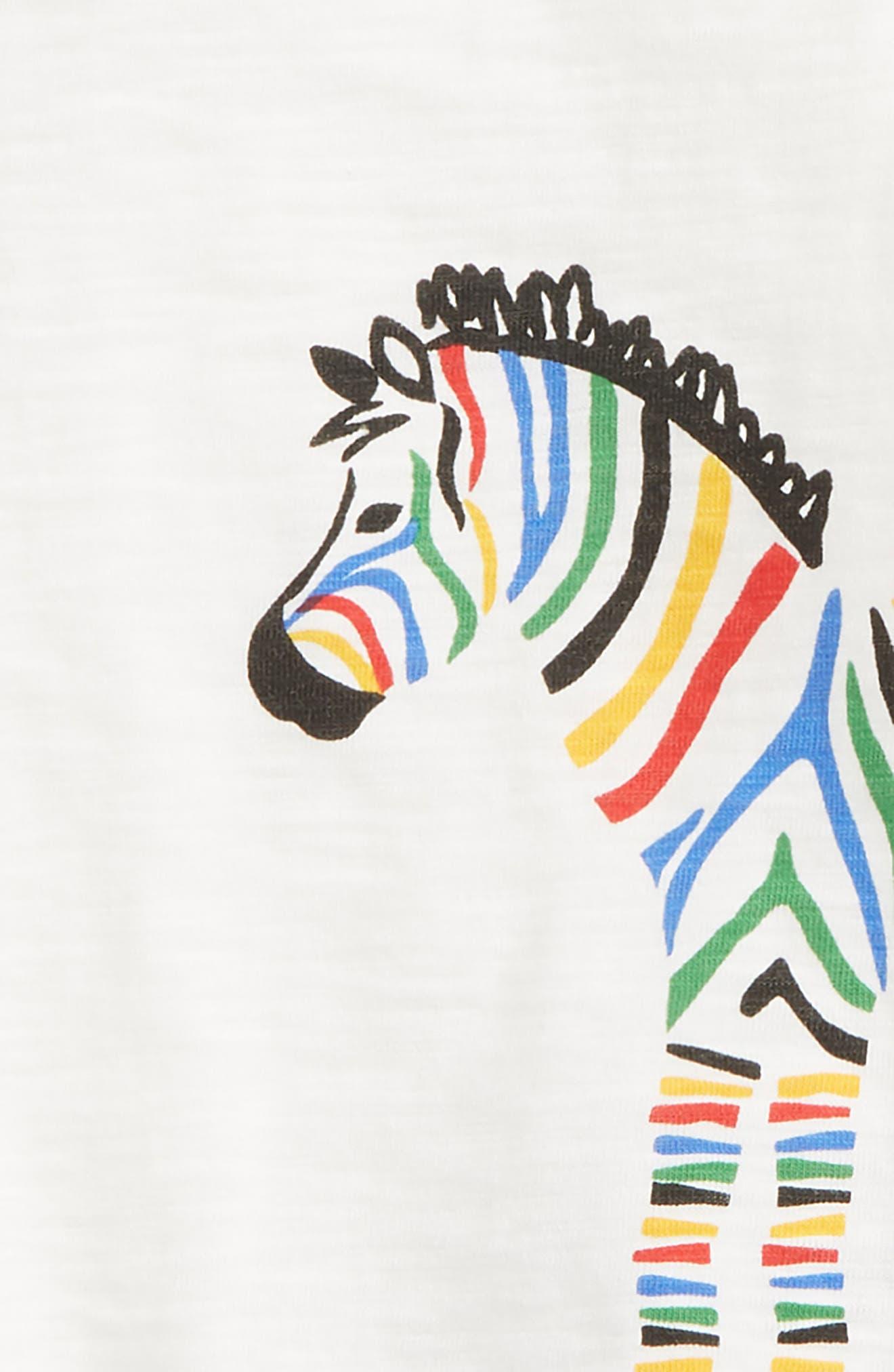 Zebra Stripe T-Shirt & Shorts Set,                             Alternate thumbnail 2, color,                             White/ Black