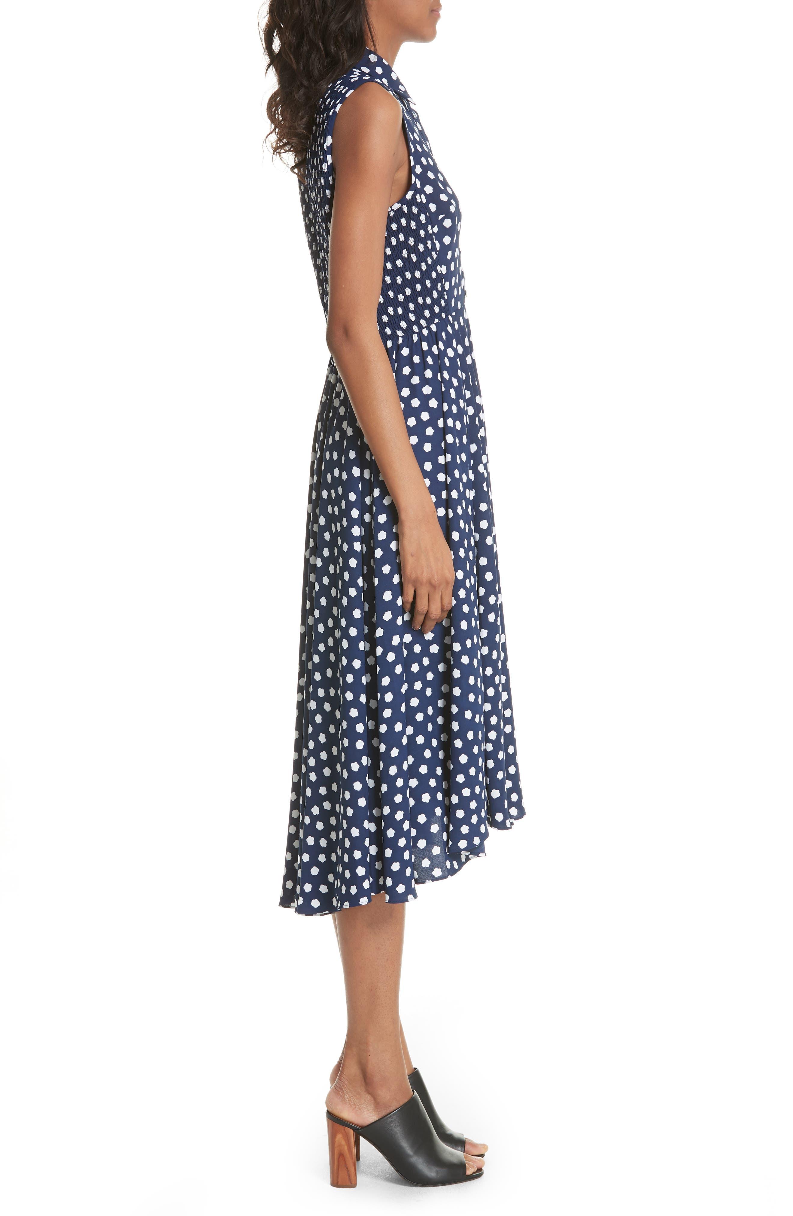 cloud dot midi dress,                             Alternate thumbnail 3, color,                             French Navy/ Fresh White