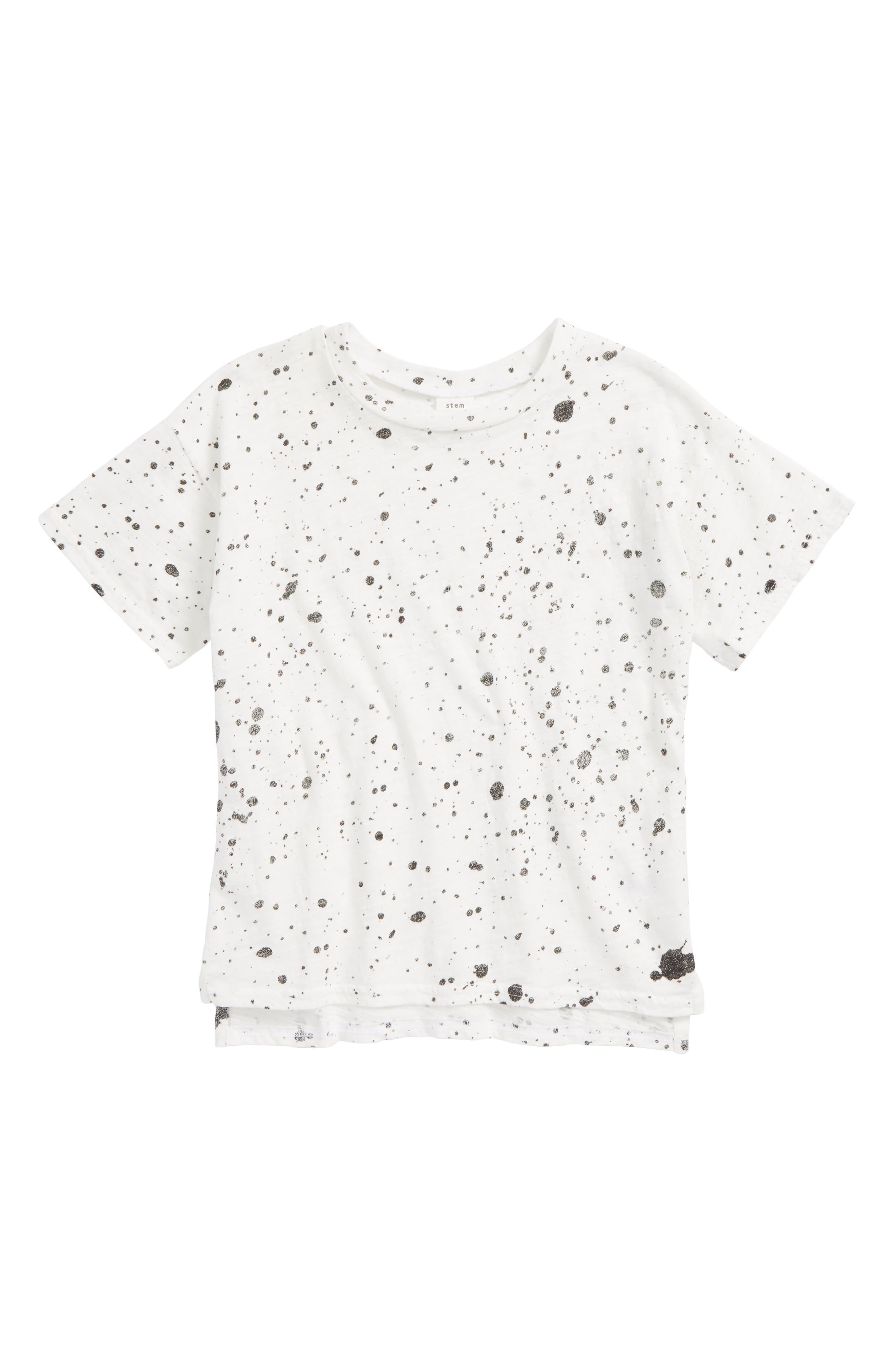 Print T-Shirt,                         Main,                         color, White Paint Splatter
