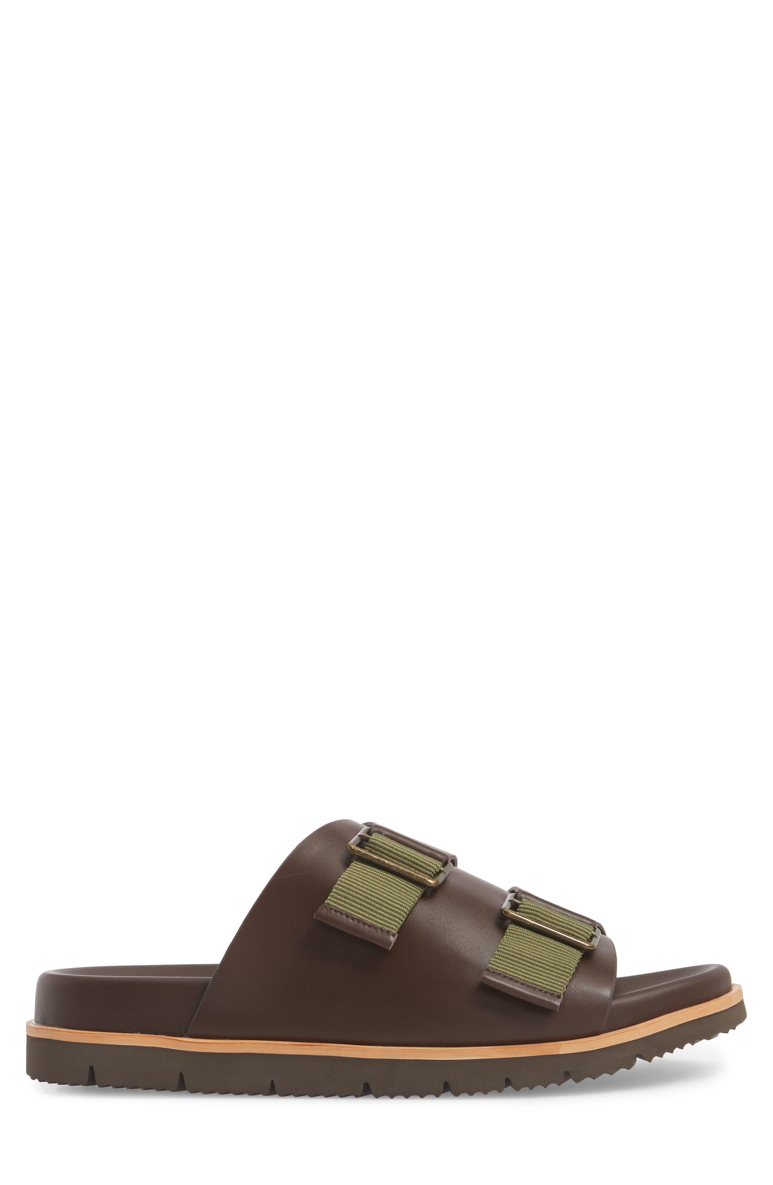 Slide Sandal,                             Alternate thumbnail 3, color,                             Expresso/ Tan Leather