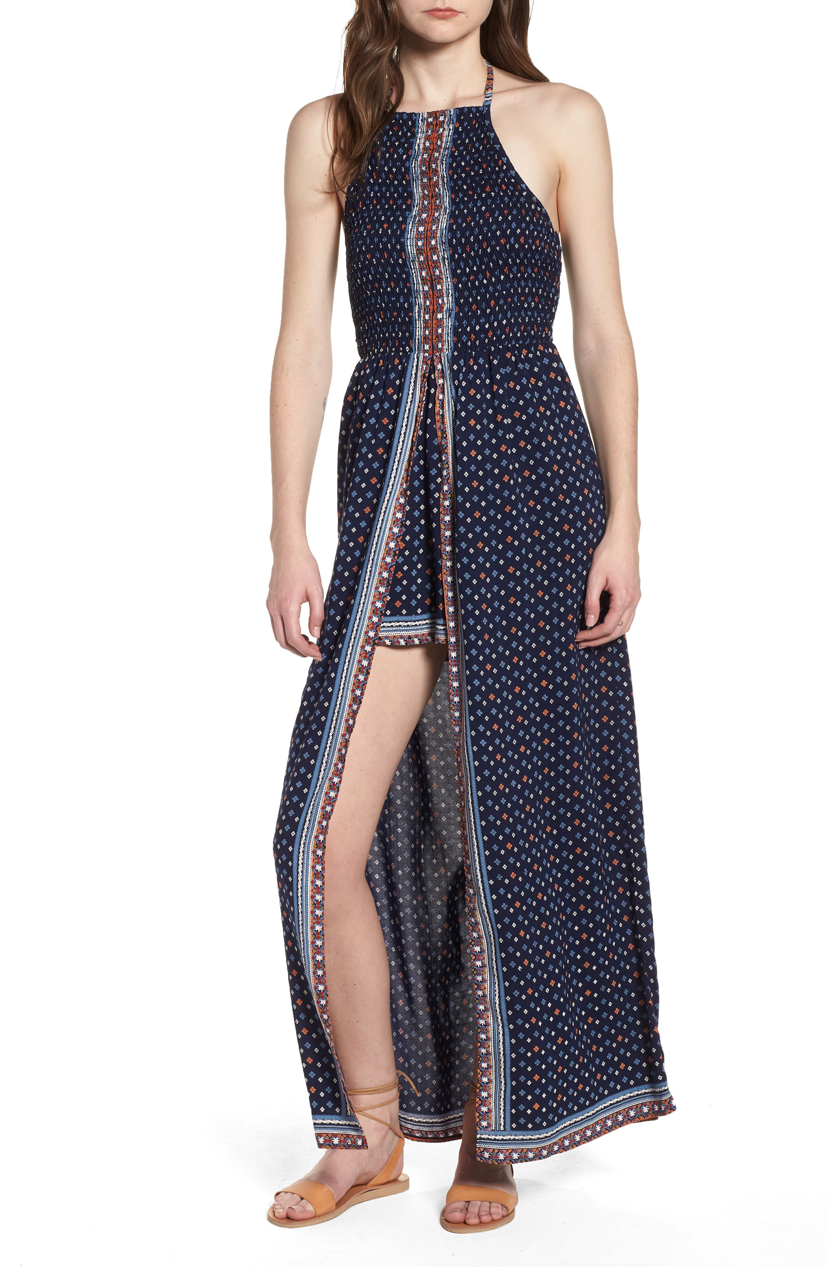 Halter Neck Maxi Romper,                         Main,                         color, Navy